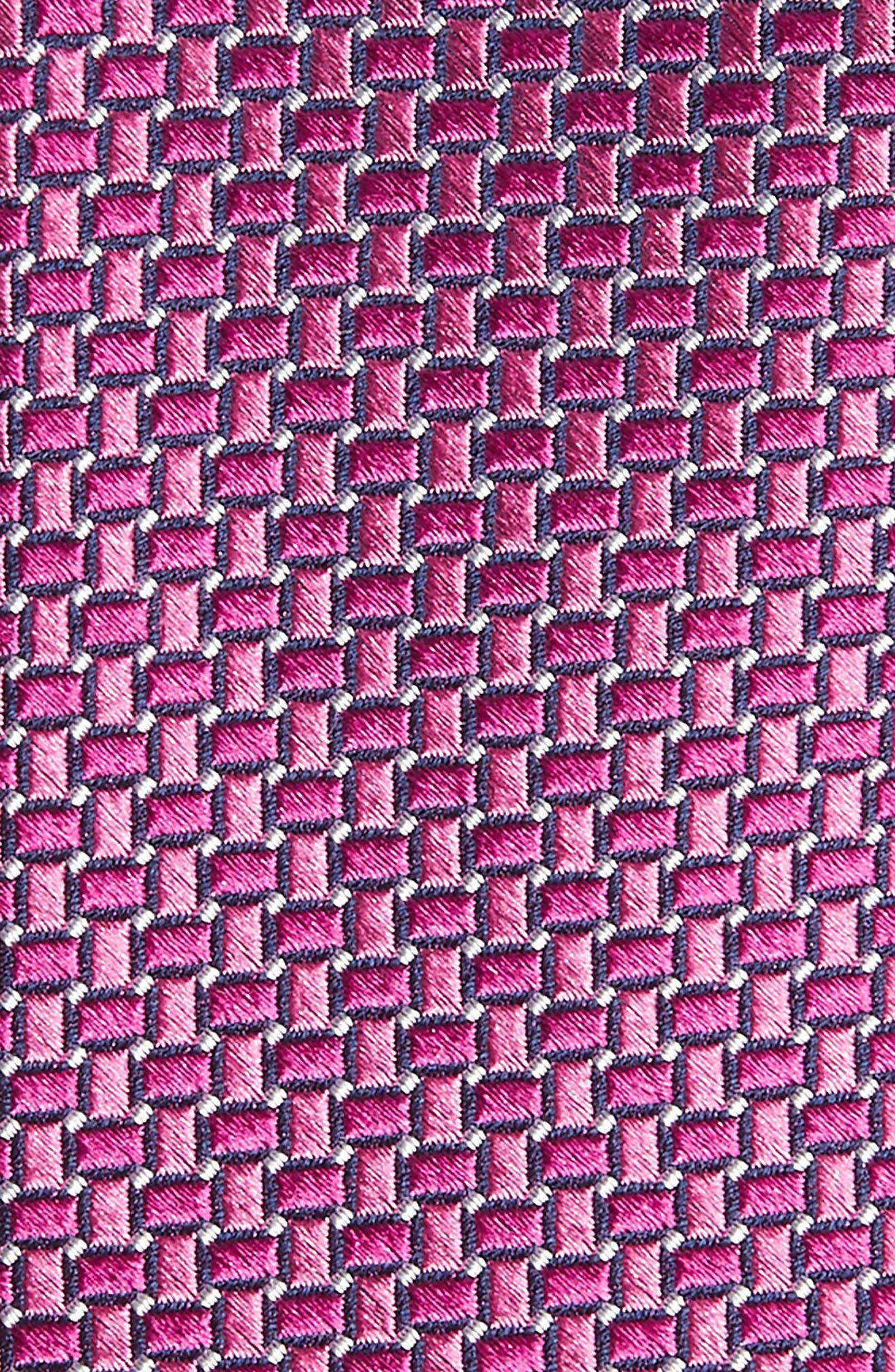 Basketweave Silk Tie,                             Alternate thumbnail 2, color,                             Bright Pink