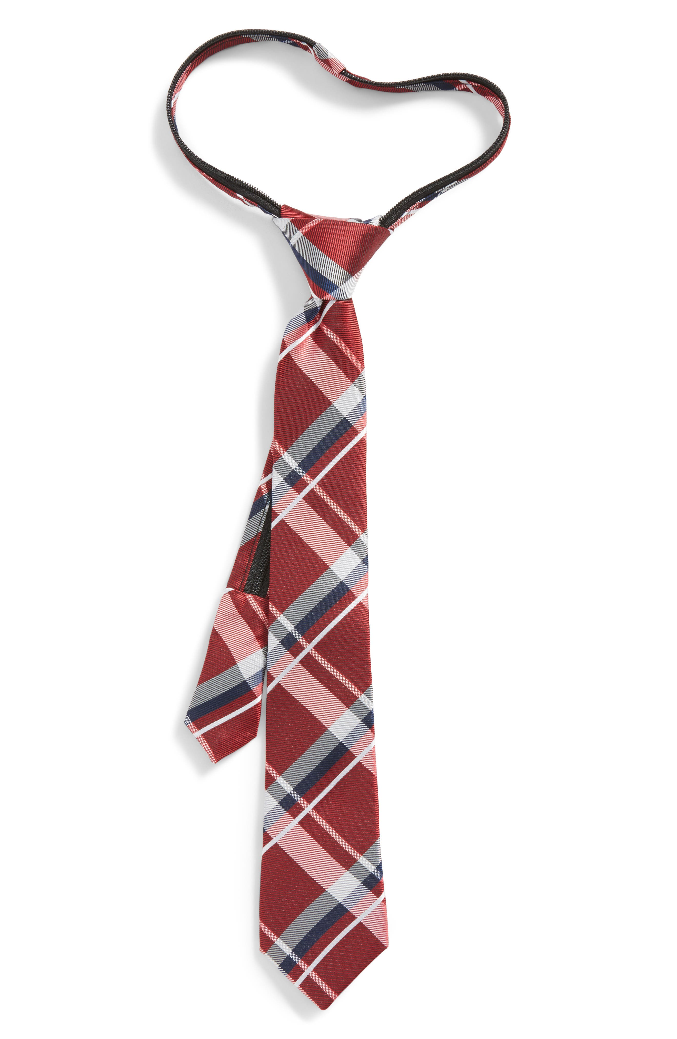 Plaid Silk Zip Tie,                             Main thumbnail 1, color,                             Red- Navy