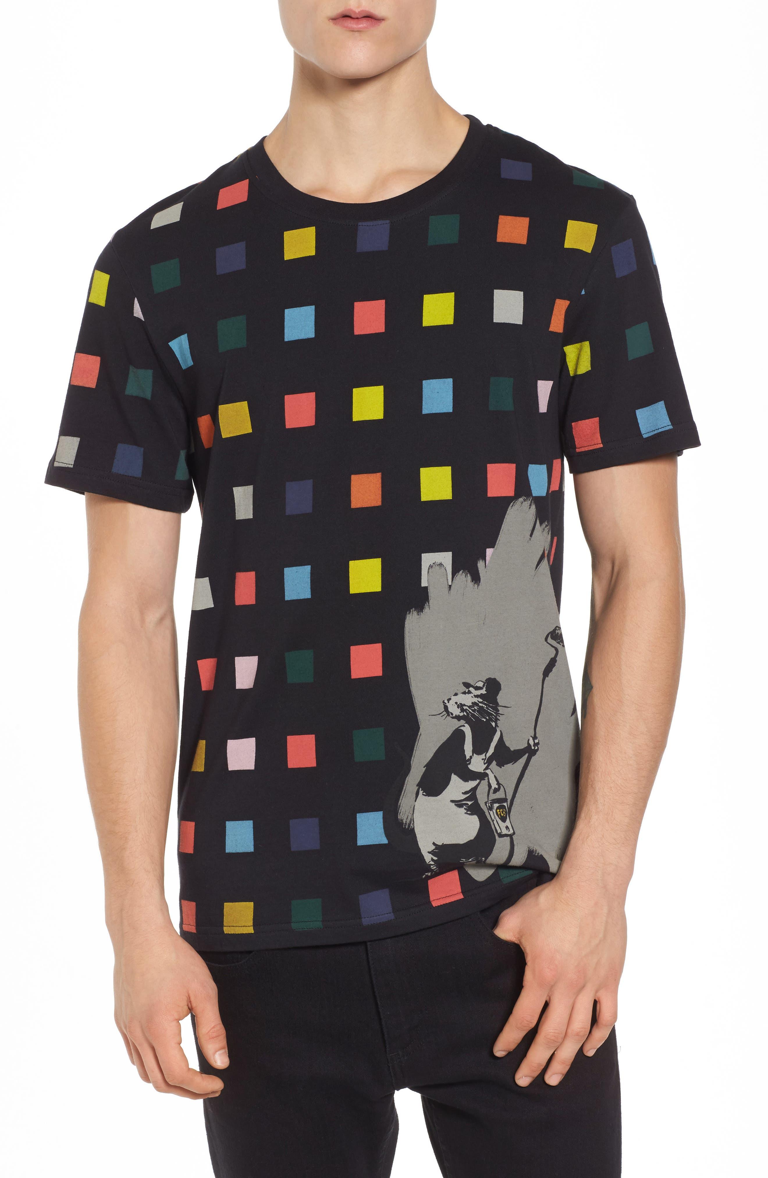 Squares T-Shirt,                         Main,                         color, Black