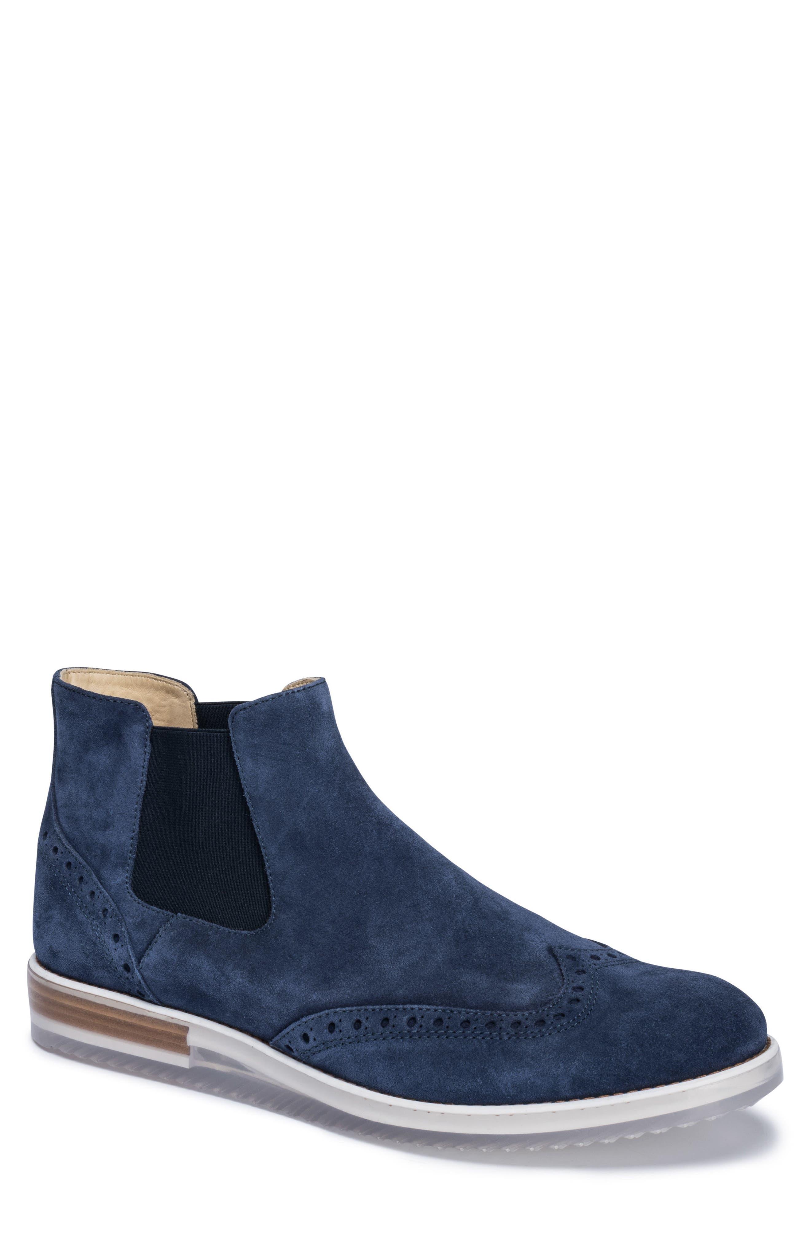 Brescia Mid Chelsea Wingtip Sneaker Boot,                         Main,                         color, Blue Suede