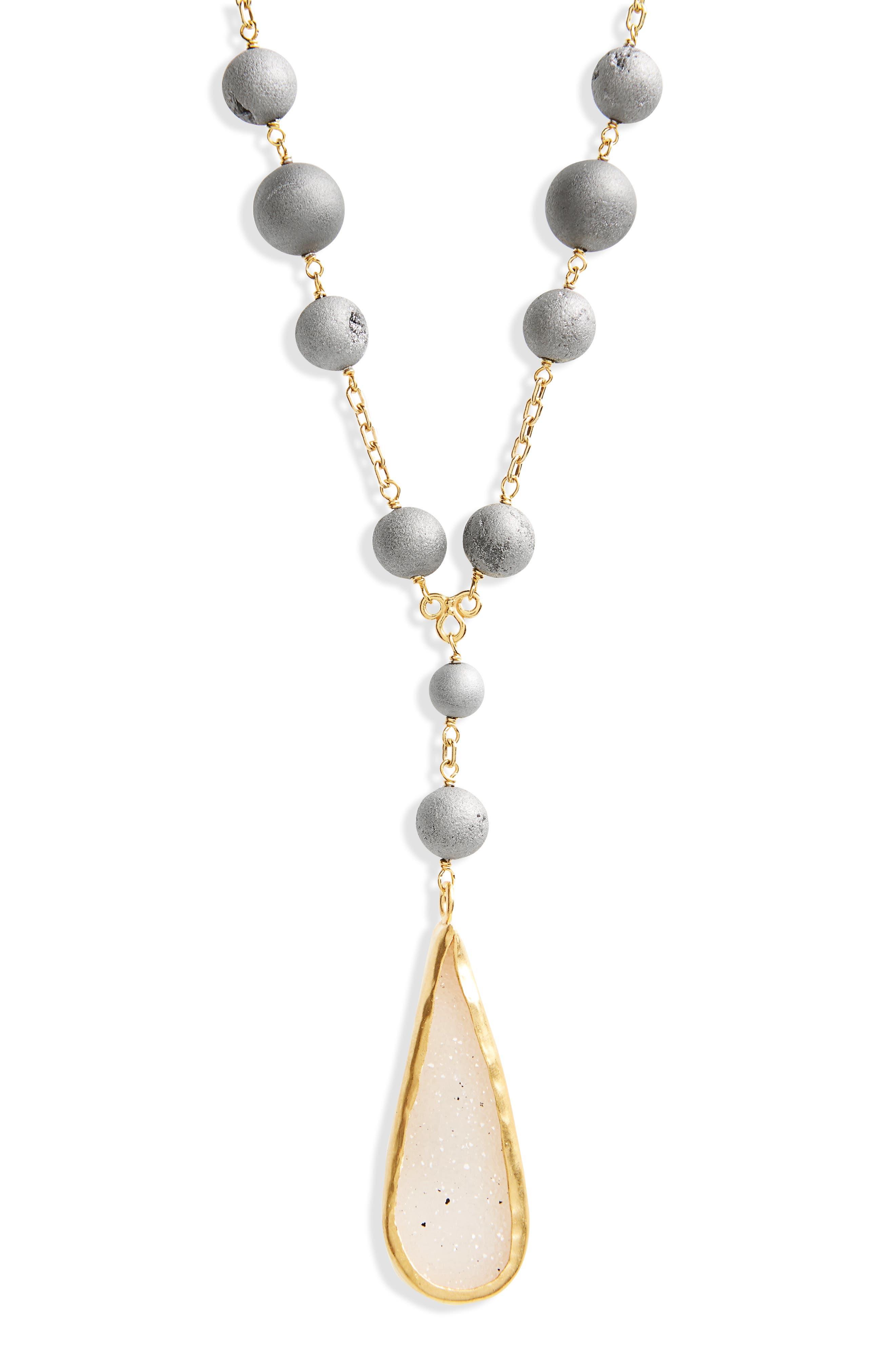 Drusy Agate Pendant Necklace,                             Alternate thumbnail 2, color,                             Silver Agate