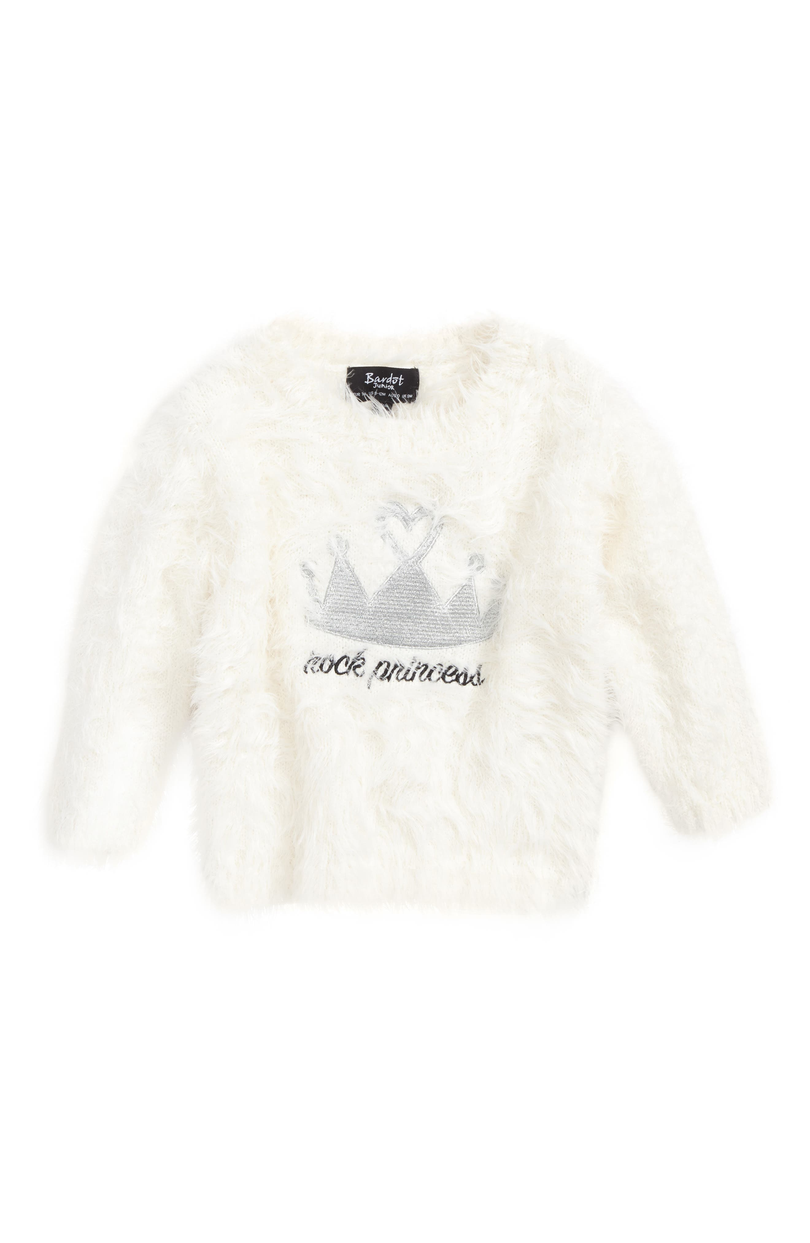 Rock Princess Fuzzy Sweater,                             Main thumbnail 1, color,                             Ivory