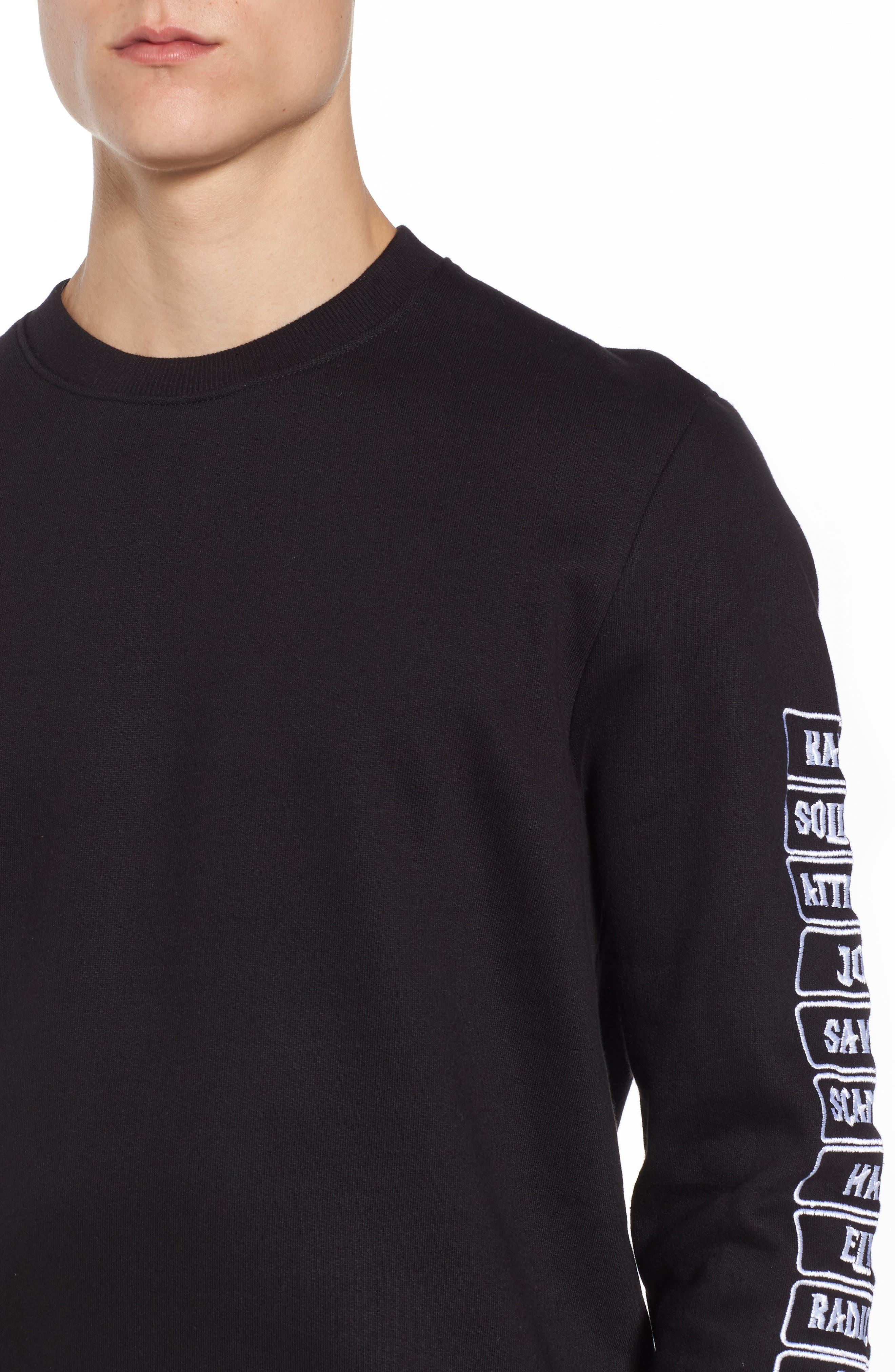 Meace Fleece Sweatshirt,                             Alternate thumbnail 4, color,                             Black