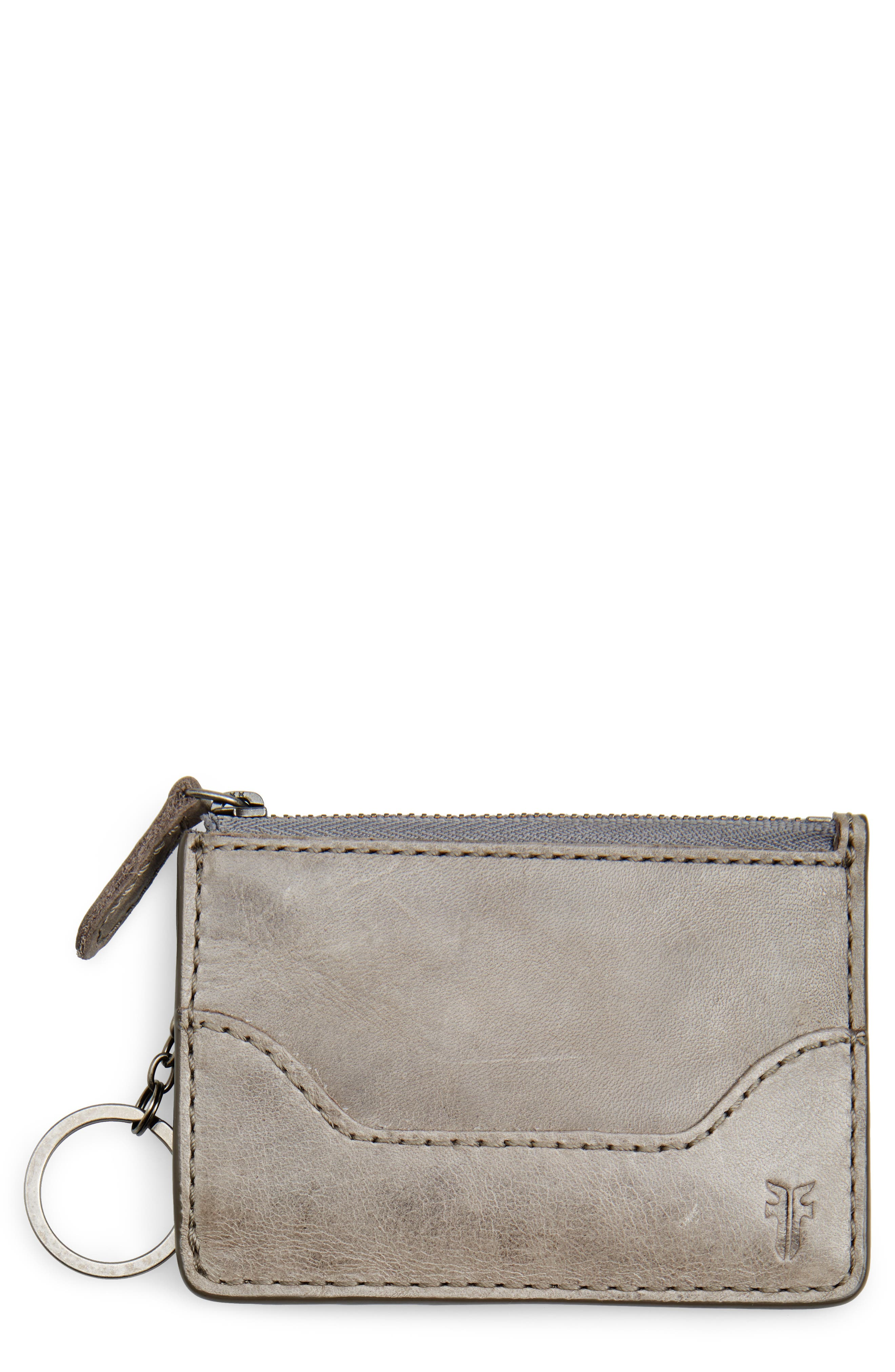 Frye Melissa Leather Card Holder with Key Ring