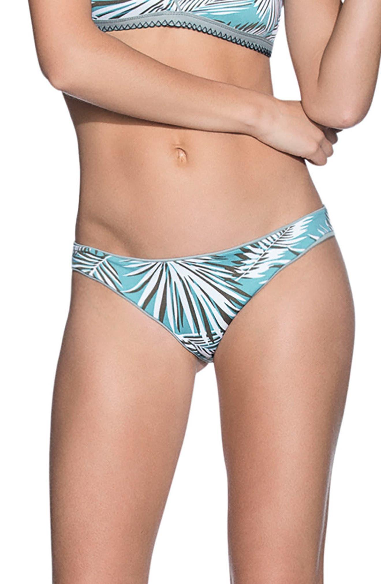 Lily Pad Flirt Signature Cut Reversible Bikini Bottoms,                             Alternate thumbnail 2, color,                             Open Green
