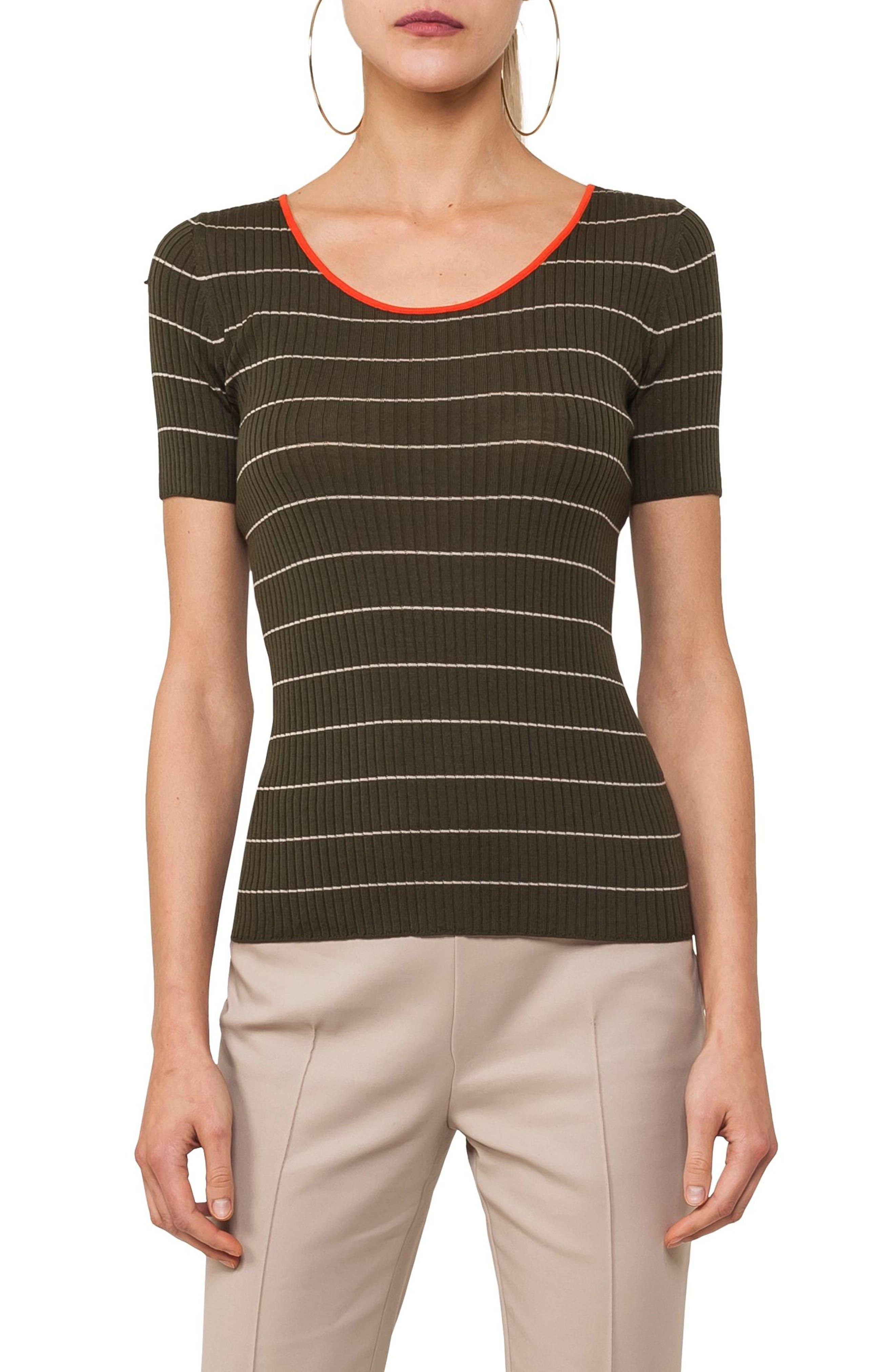 Tricolor Stripe Knit Tee,                             Main thumbnail 1, color,                             Avocado / Sand / Papaya