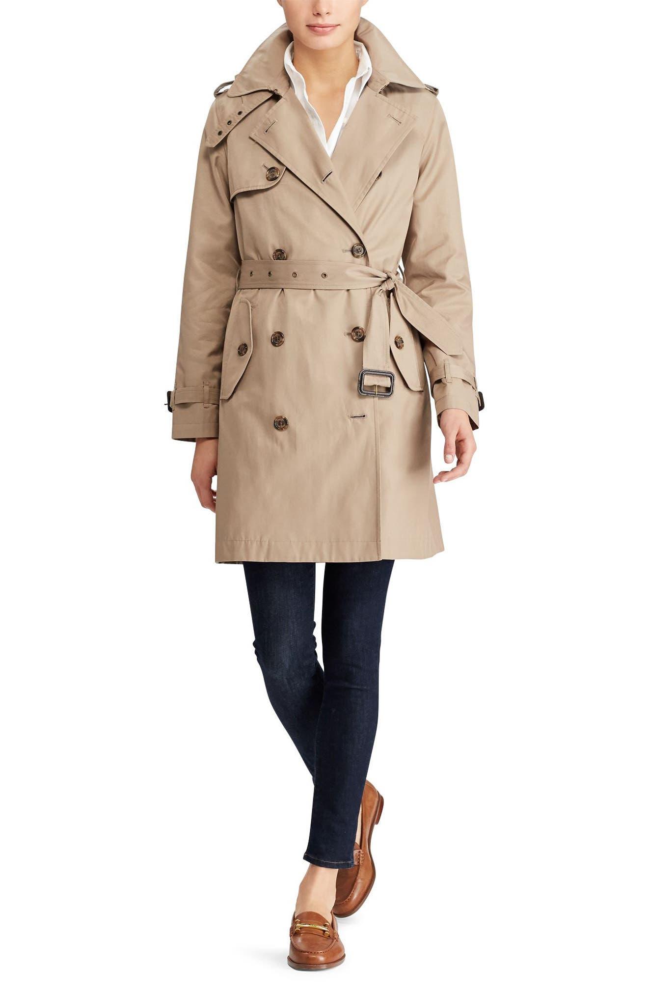 Alternate Image 3  - Lauren Ralph Lauren Cotton Blend A-Line Trench Coat