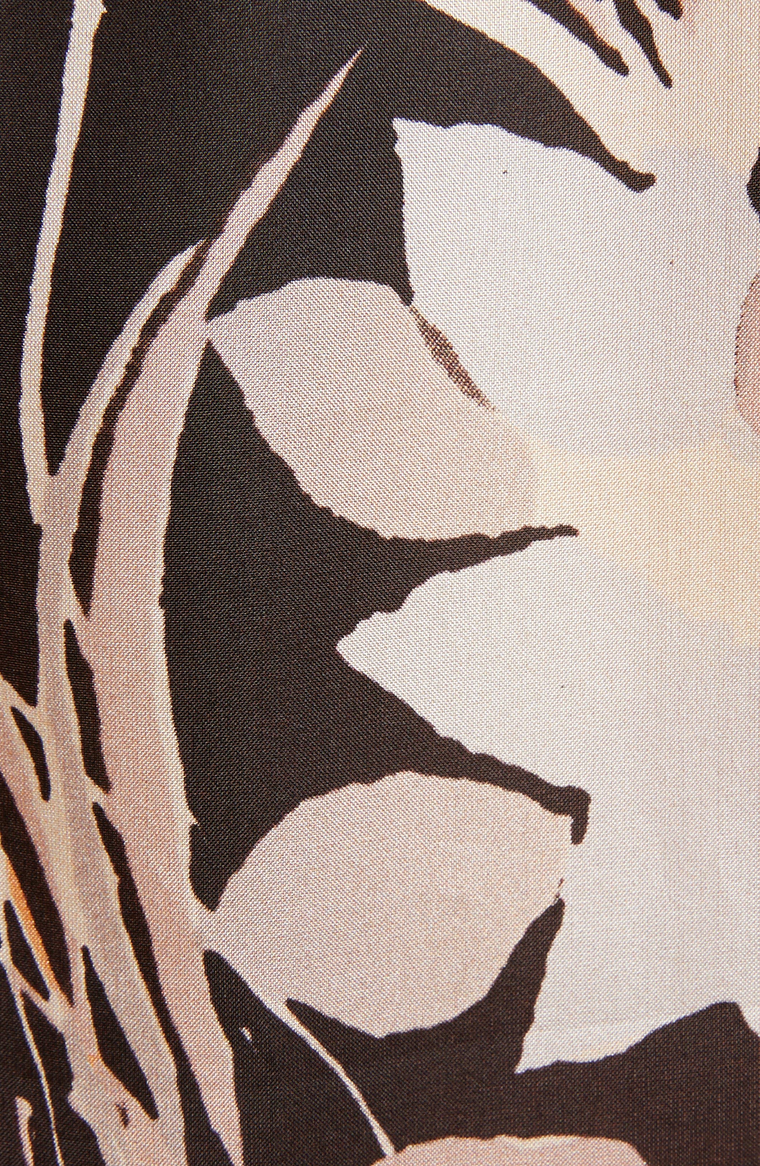 Floral Silk Blouse,                             Alternate thumbnail 5, color,                             Black