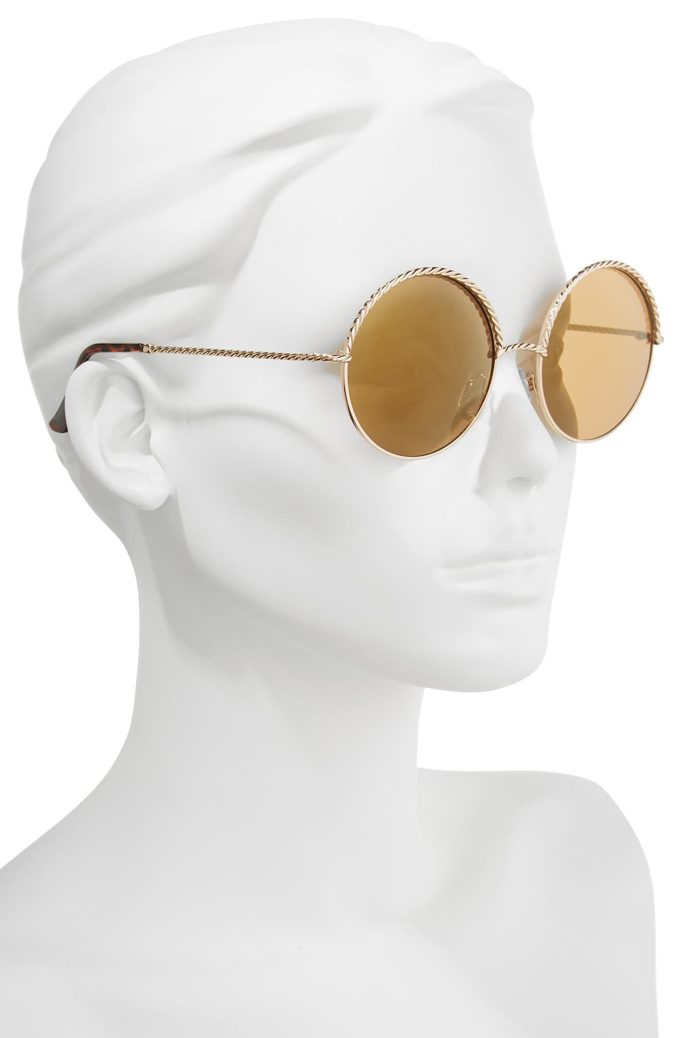 58mm Chain Trim Round Sunglasses,                             Alternate thumbnail 3, color,                             Gold/ Brown