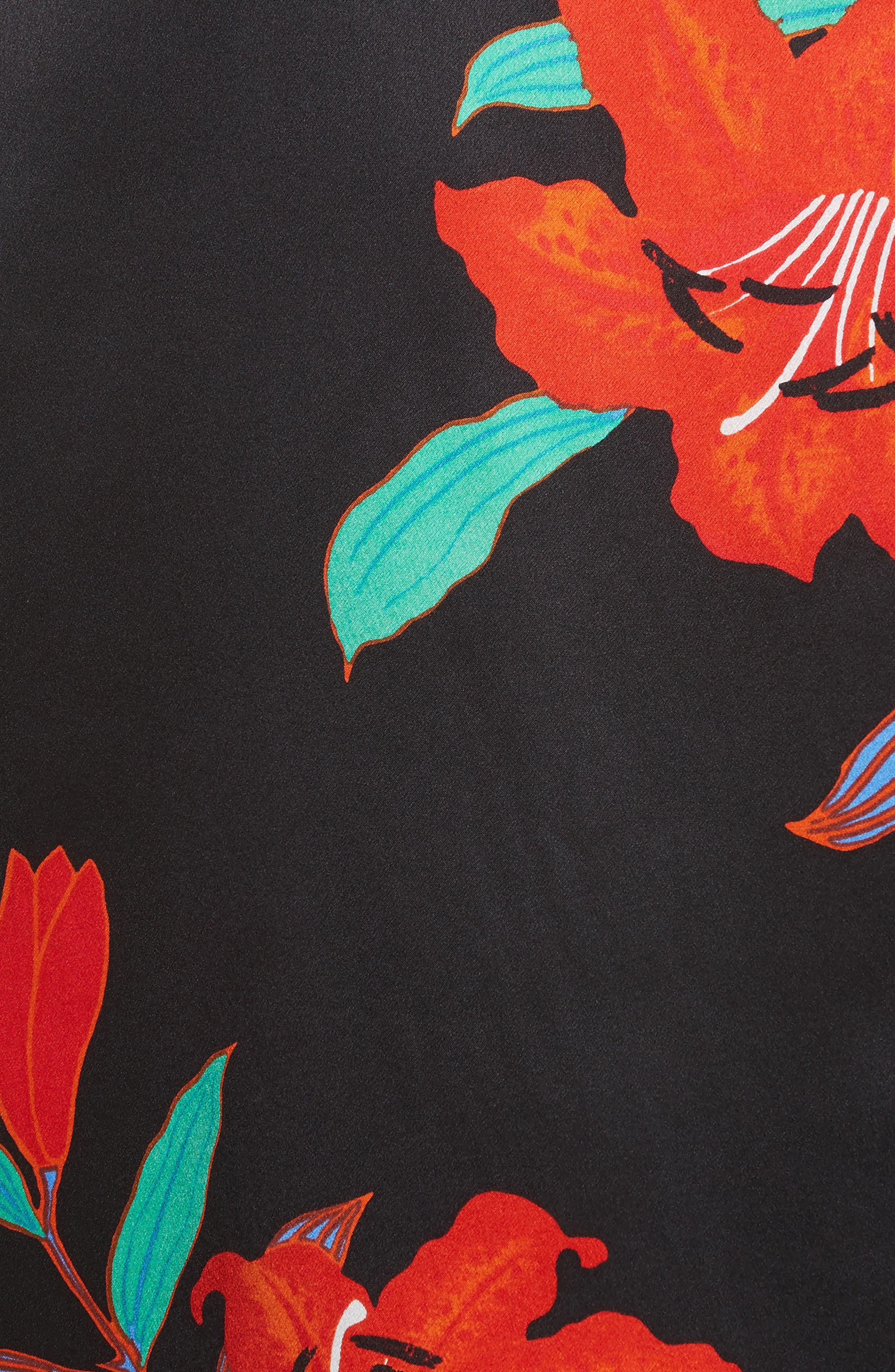 Pajama Silk Shirt,                             Alternate thumbnail 5, color,                             Argos Black/ Powder Pink