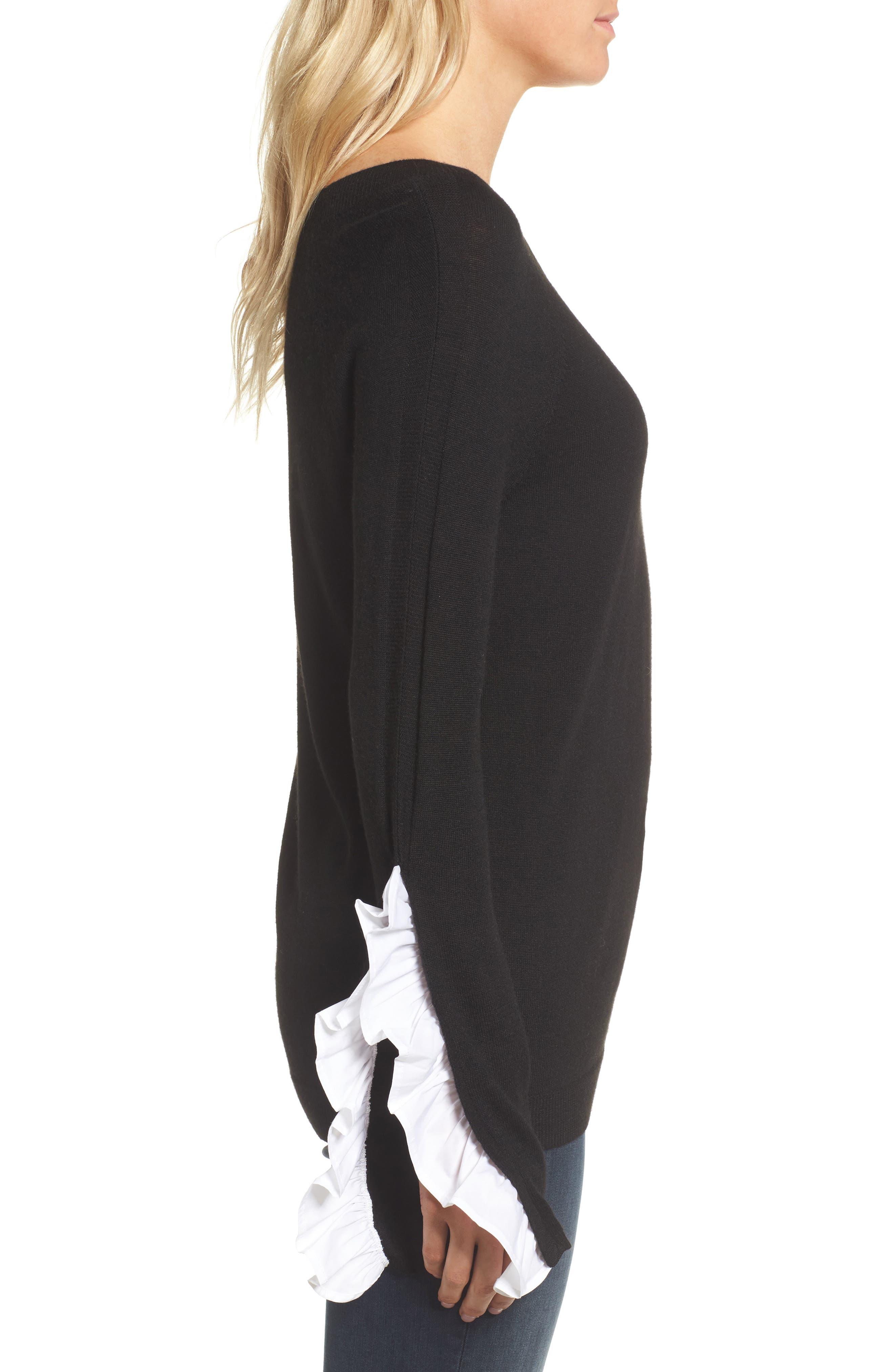 Ruffle Sleeve Sweater,                             Alternate thumbnail 2, color,                             Black