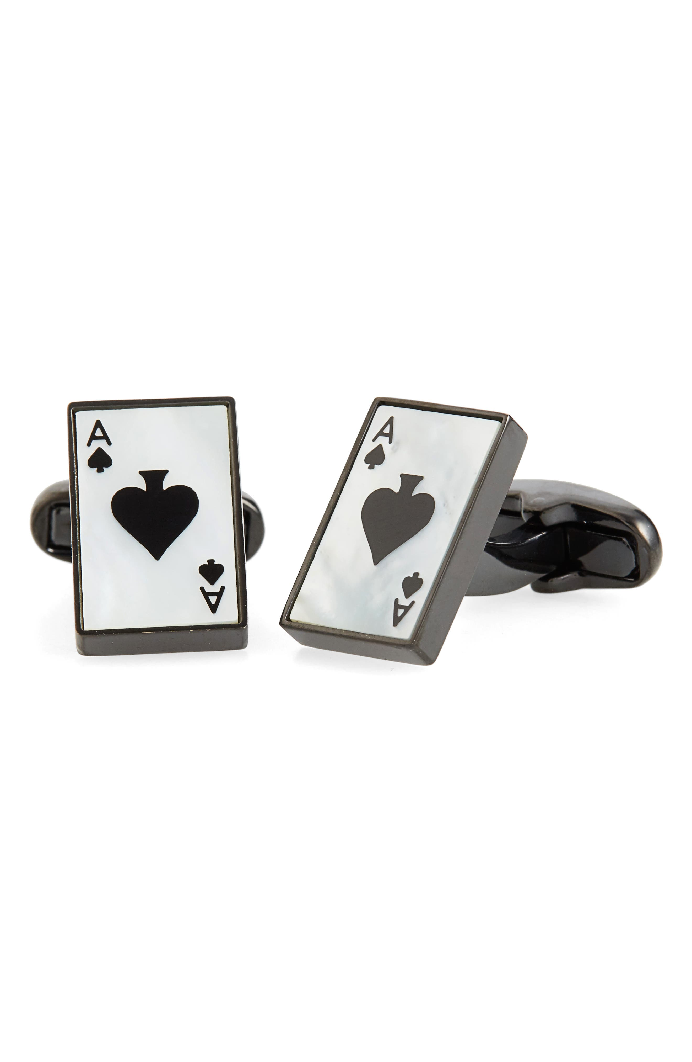 Ace of Spade Cuff Links,                         Main,                         color, Ivory
