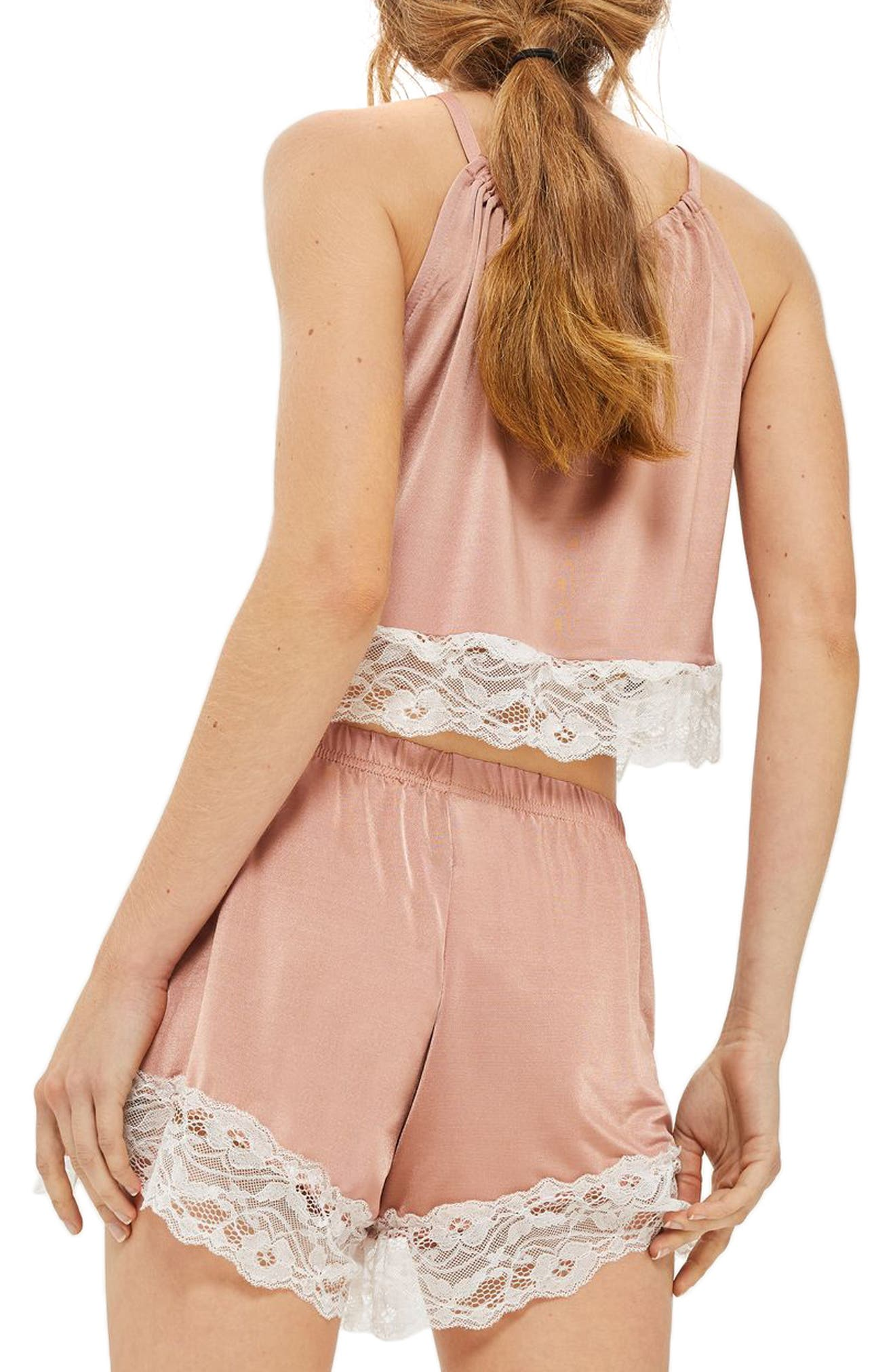 Alternate Image 2  - Topshop Satin & Lace Halter Pajama Top