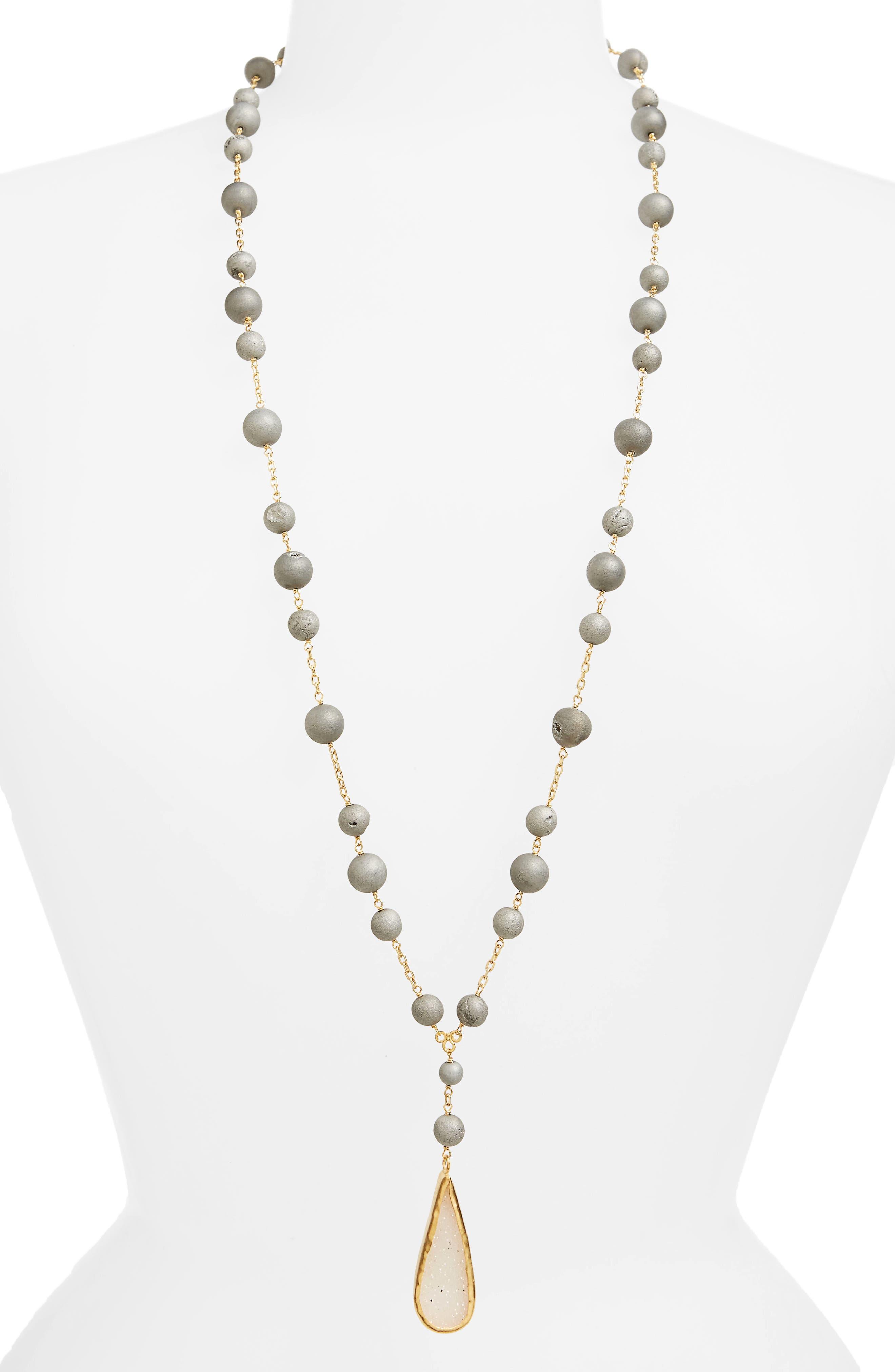 Drusy Agate Pendant Necklace,                             Main thumbnail 1, color,                             Silver Agate