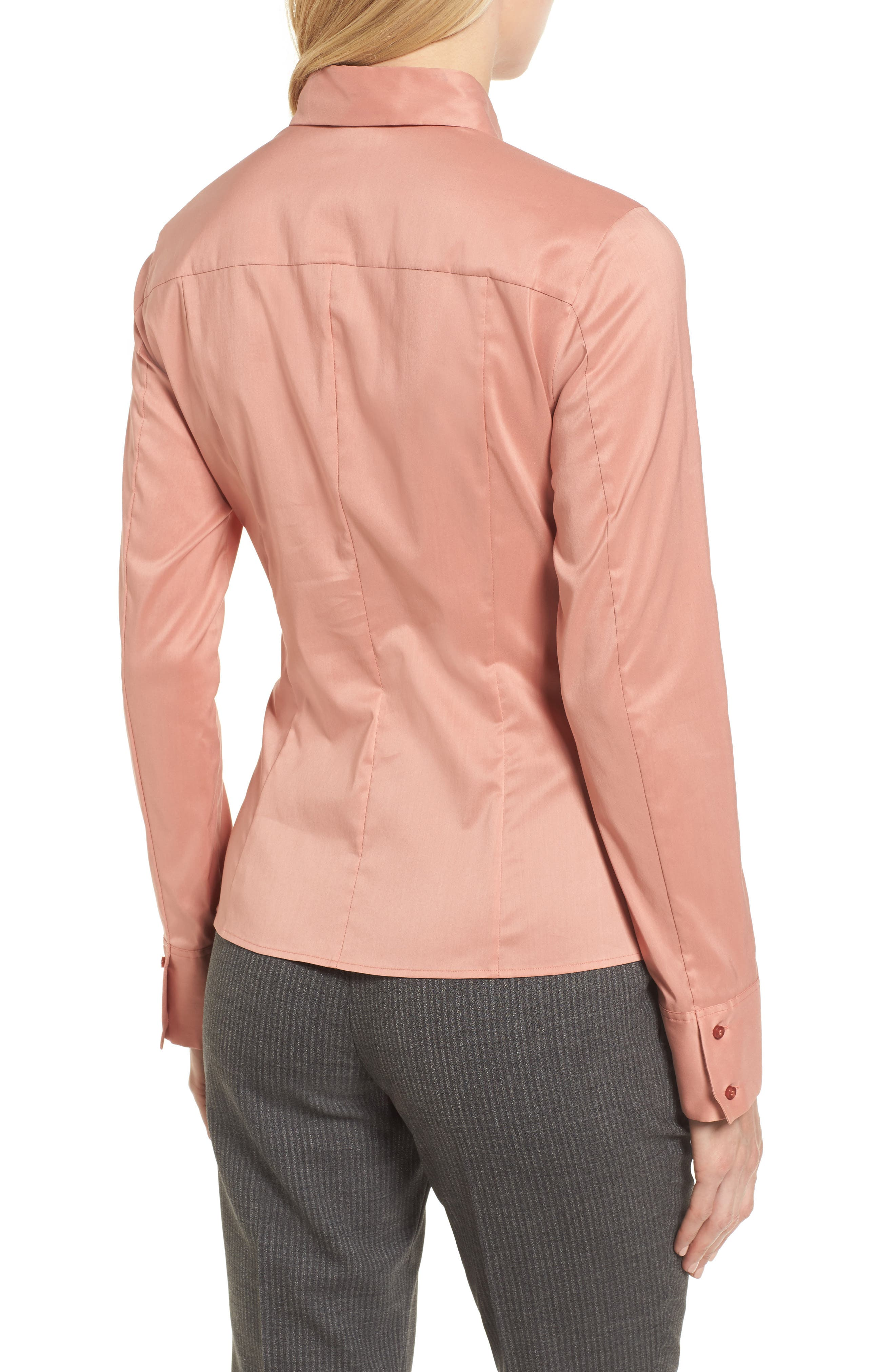 Bashina Fitted Stretch Poplin Shirt,                             Alternate thumbnail 2, color,                             Sand Rose