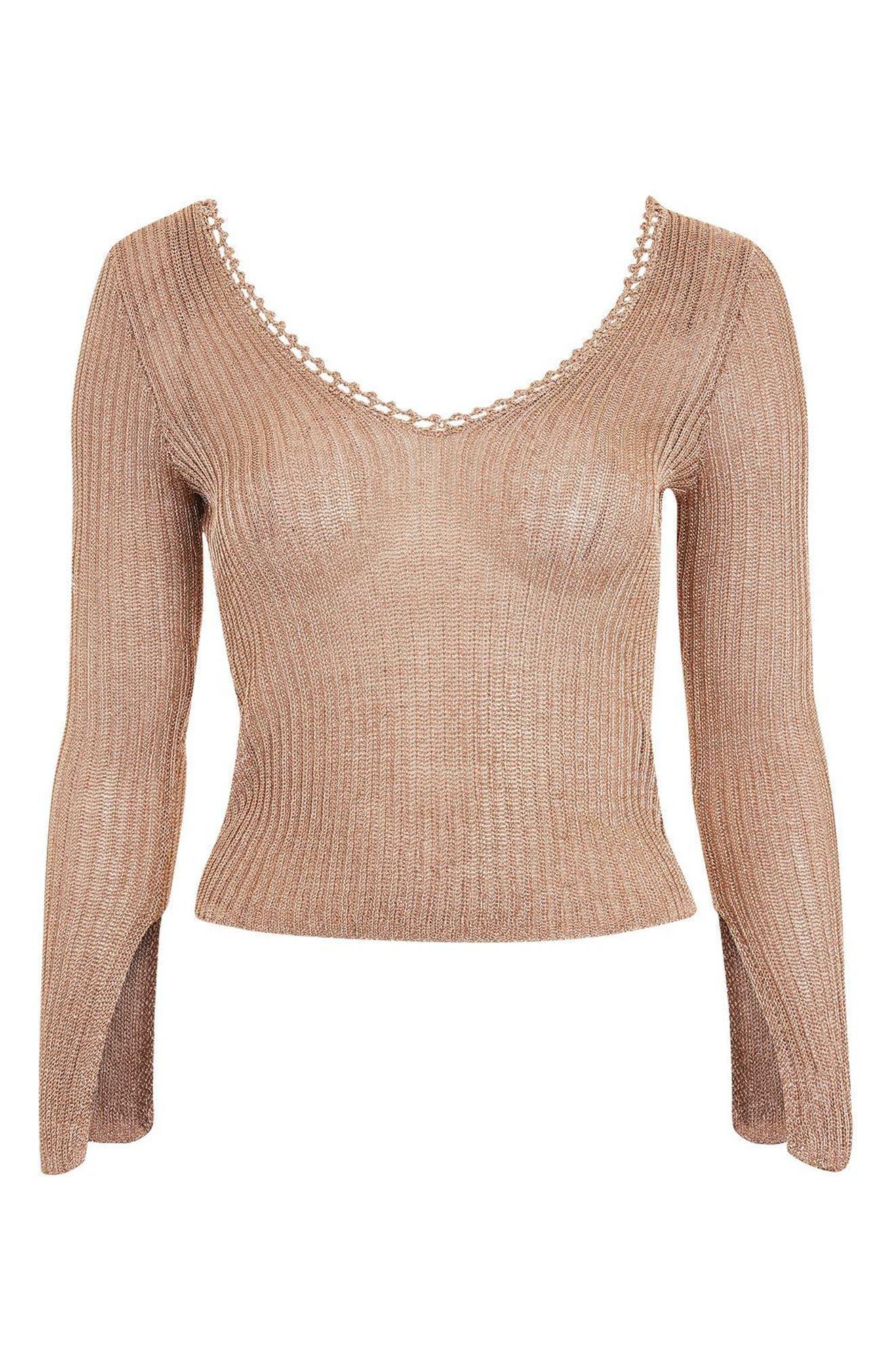 Alternate Image 4  - Topshop Metallic Rib Sweater