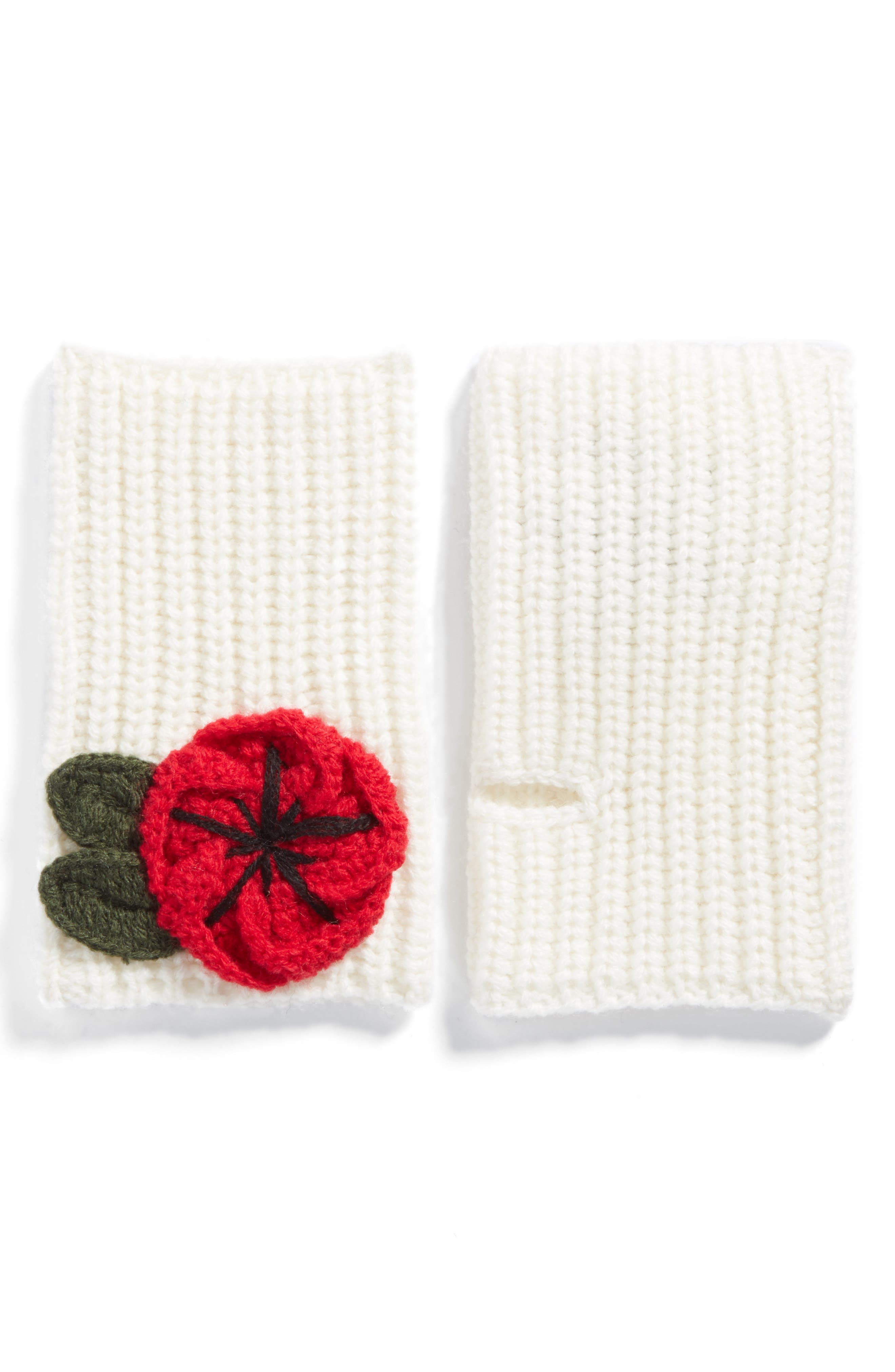 crocheted poppy arm warmers,                         Main,                         color, Cream