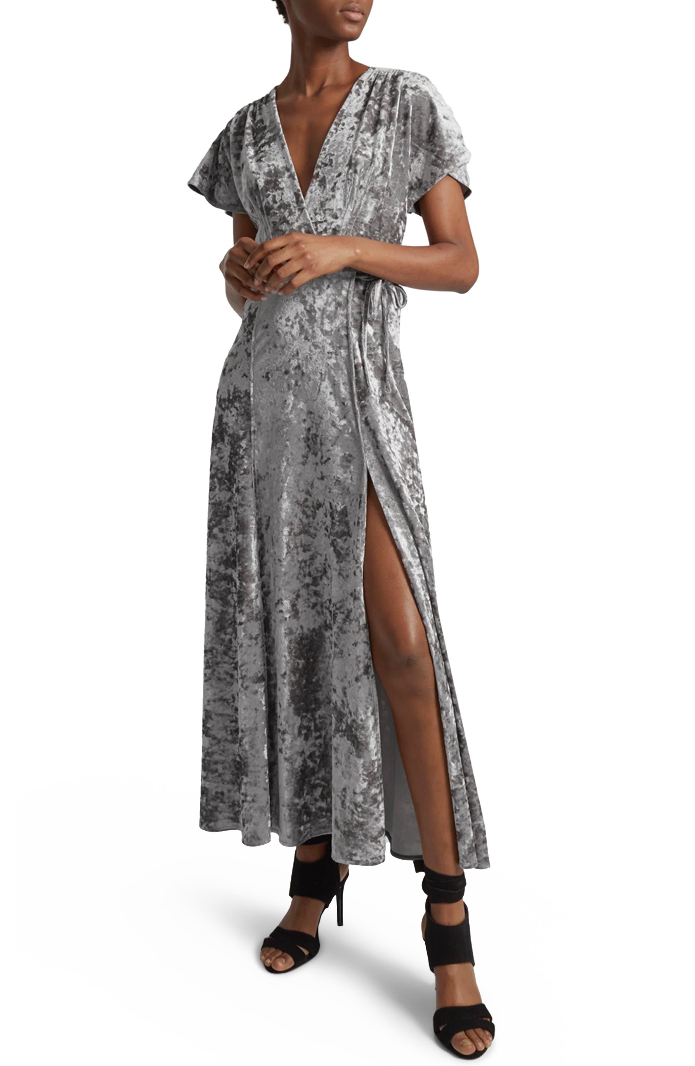 Aurore Velvet Maxi Wrap Dress,                             Main thumbnail 1, color,                             Smokey