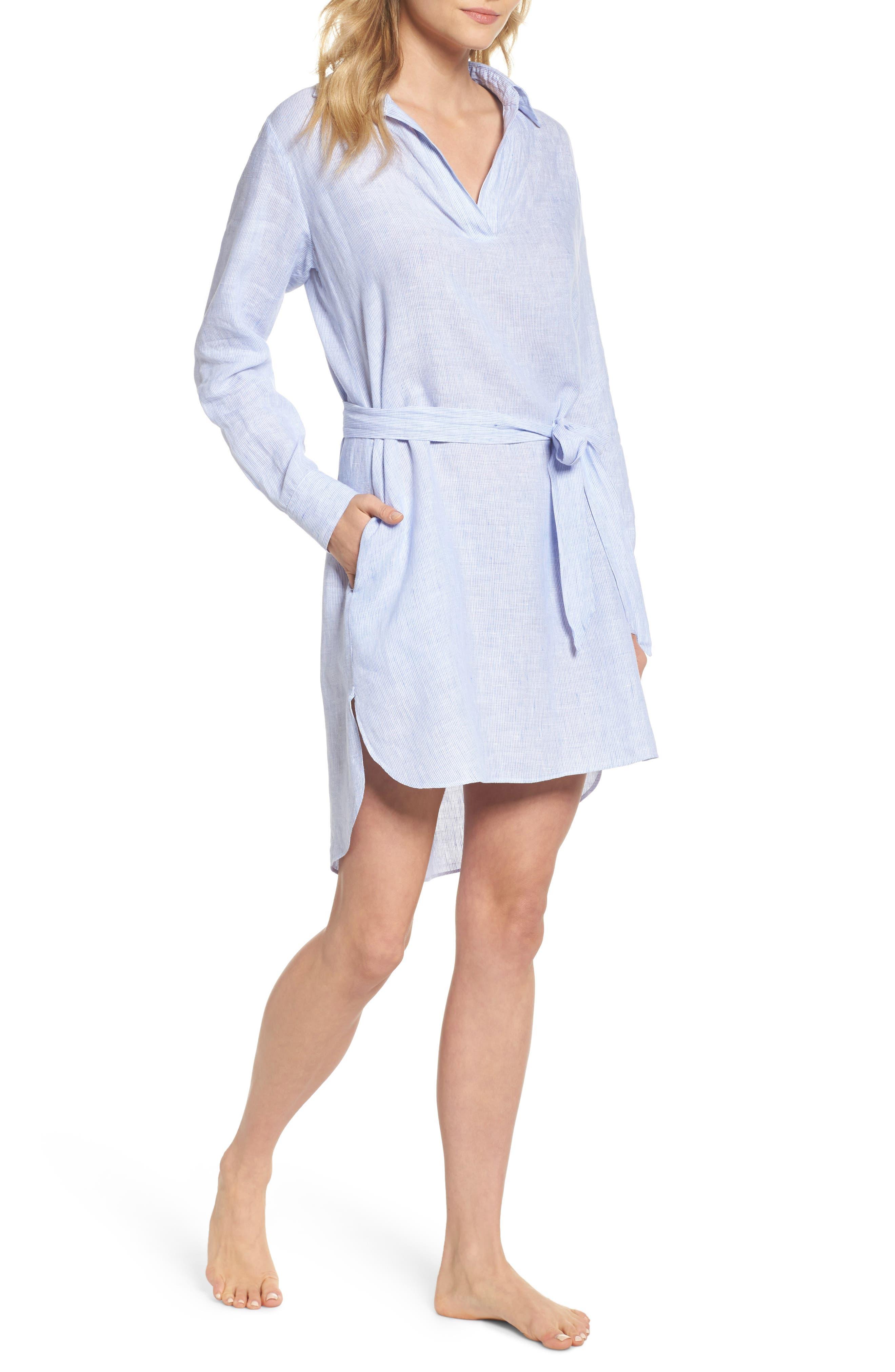 Alternate Image 1 Selected - Pour Les Femmes Linen Shirtdress