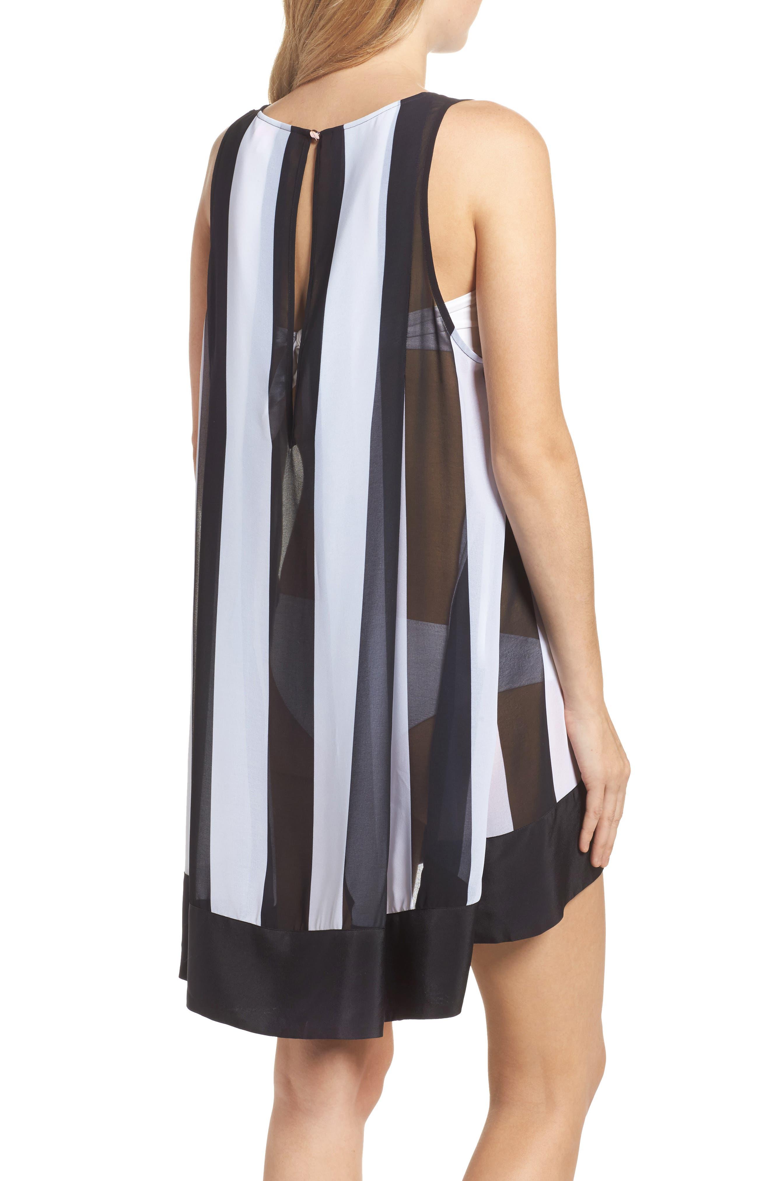 Monochrome Stripe Cover-Up Dress,                             Alternate thumbnail 2, color,                             Black