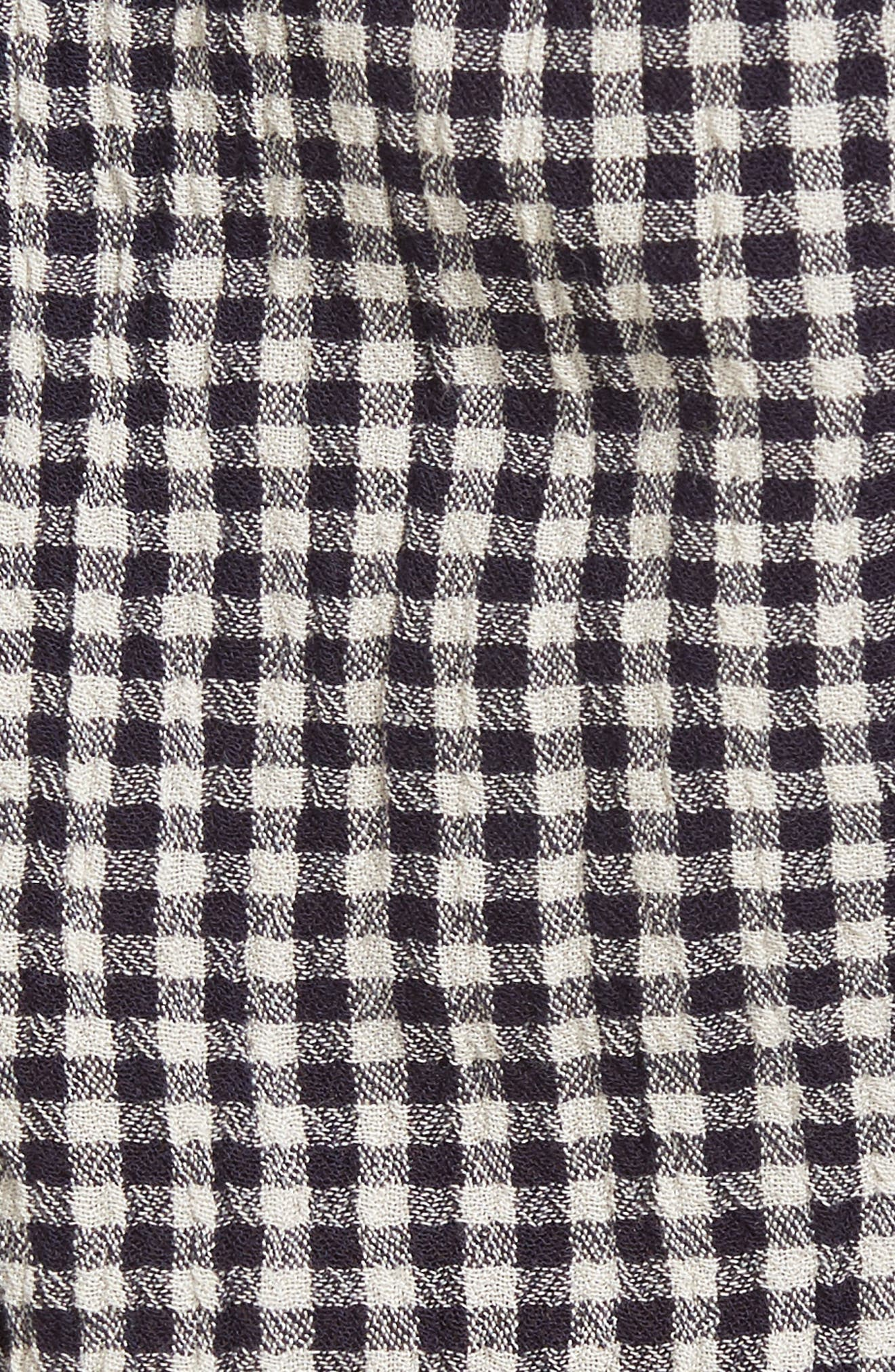 Pleated Gingham Shorts,                             Alternate thumbnail 5, color,                             Black Julie Gingham