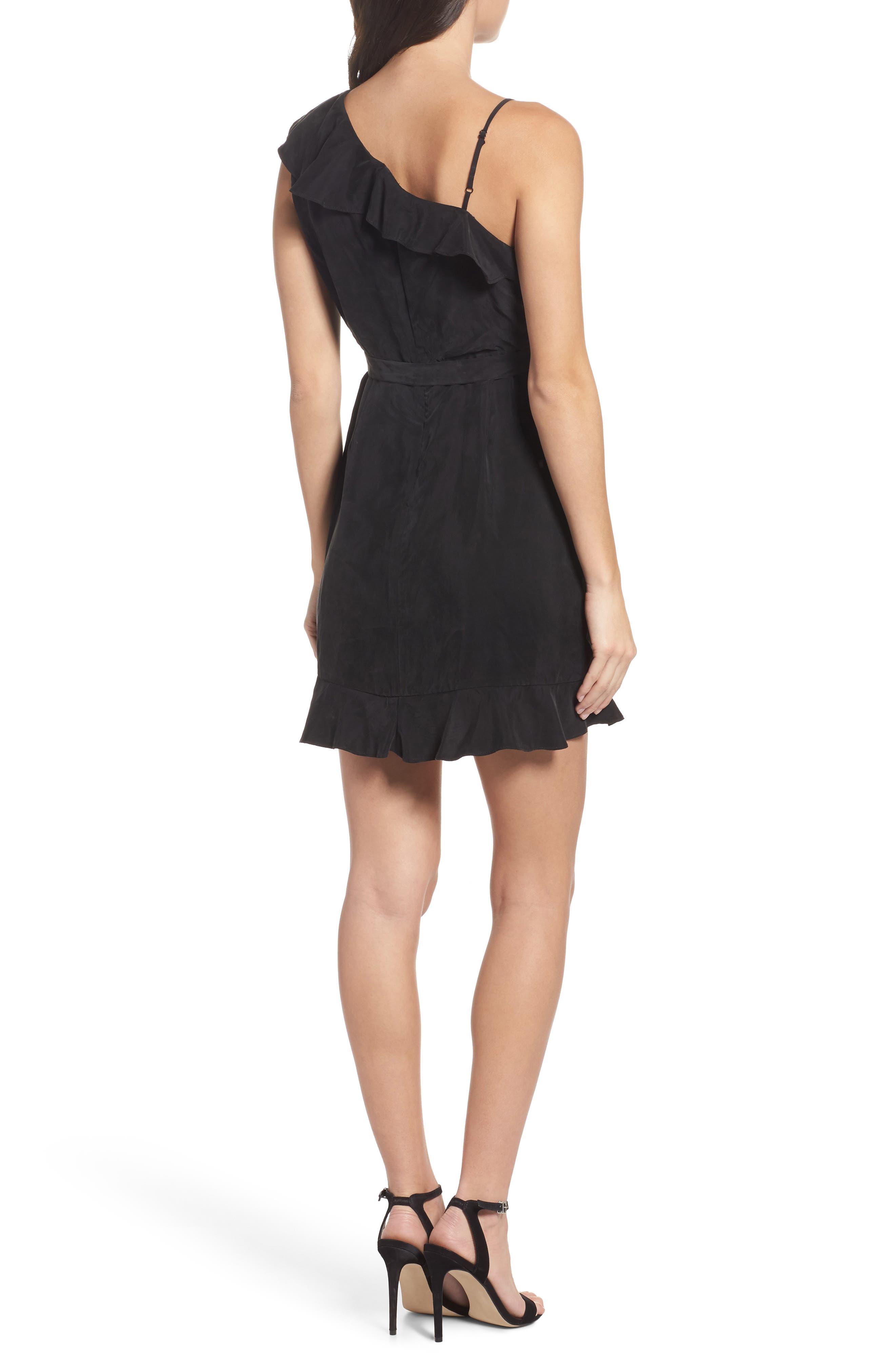 Milly One-Shoulder Wrap Dress,                             Alternate thumbnail 2, color,                             Black