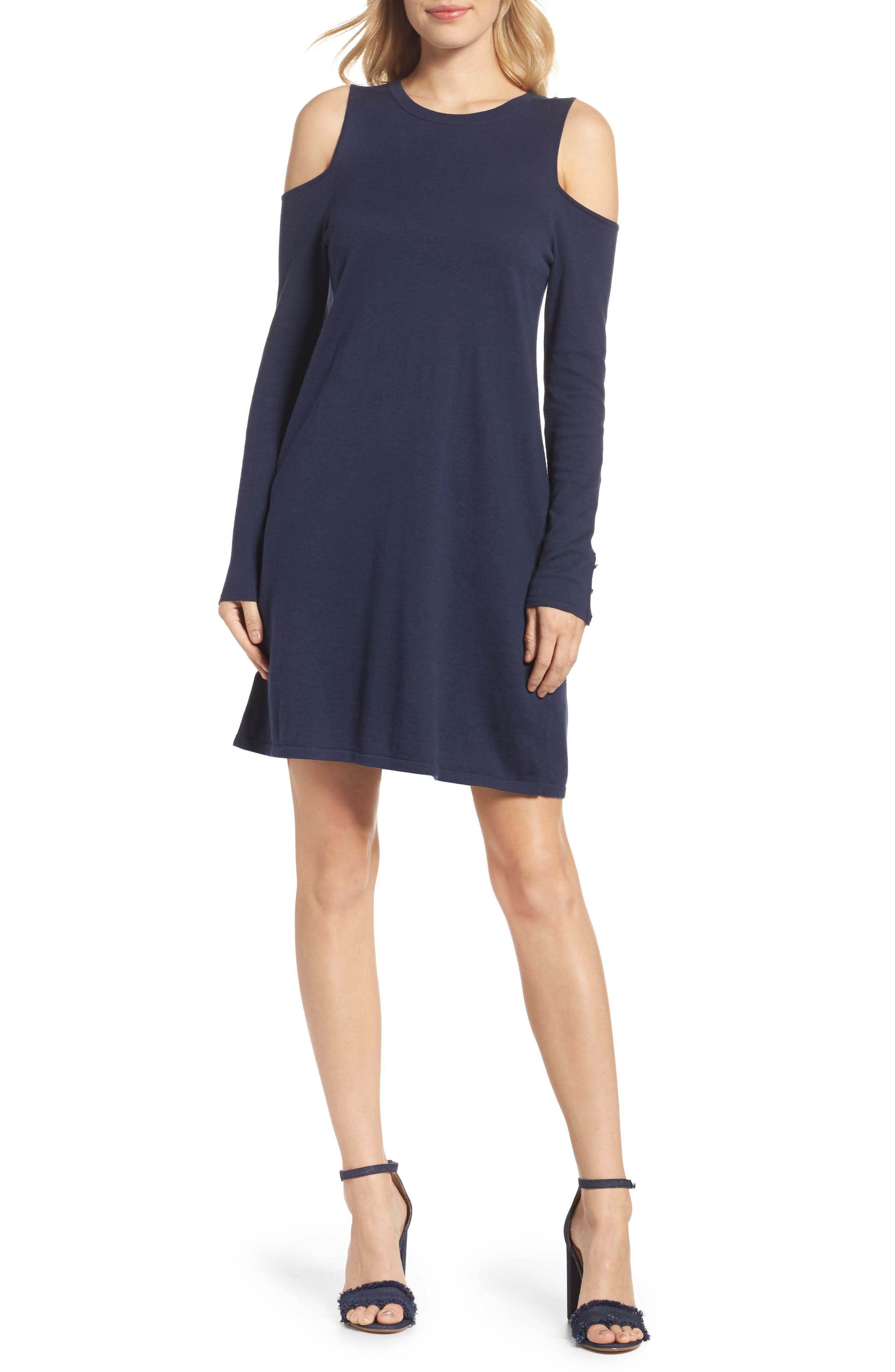 Faire Cold Shoulder Dress,                         Main,                         color, True Navy
