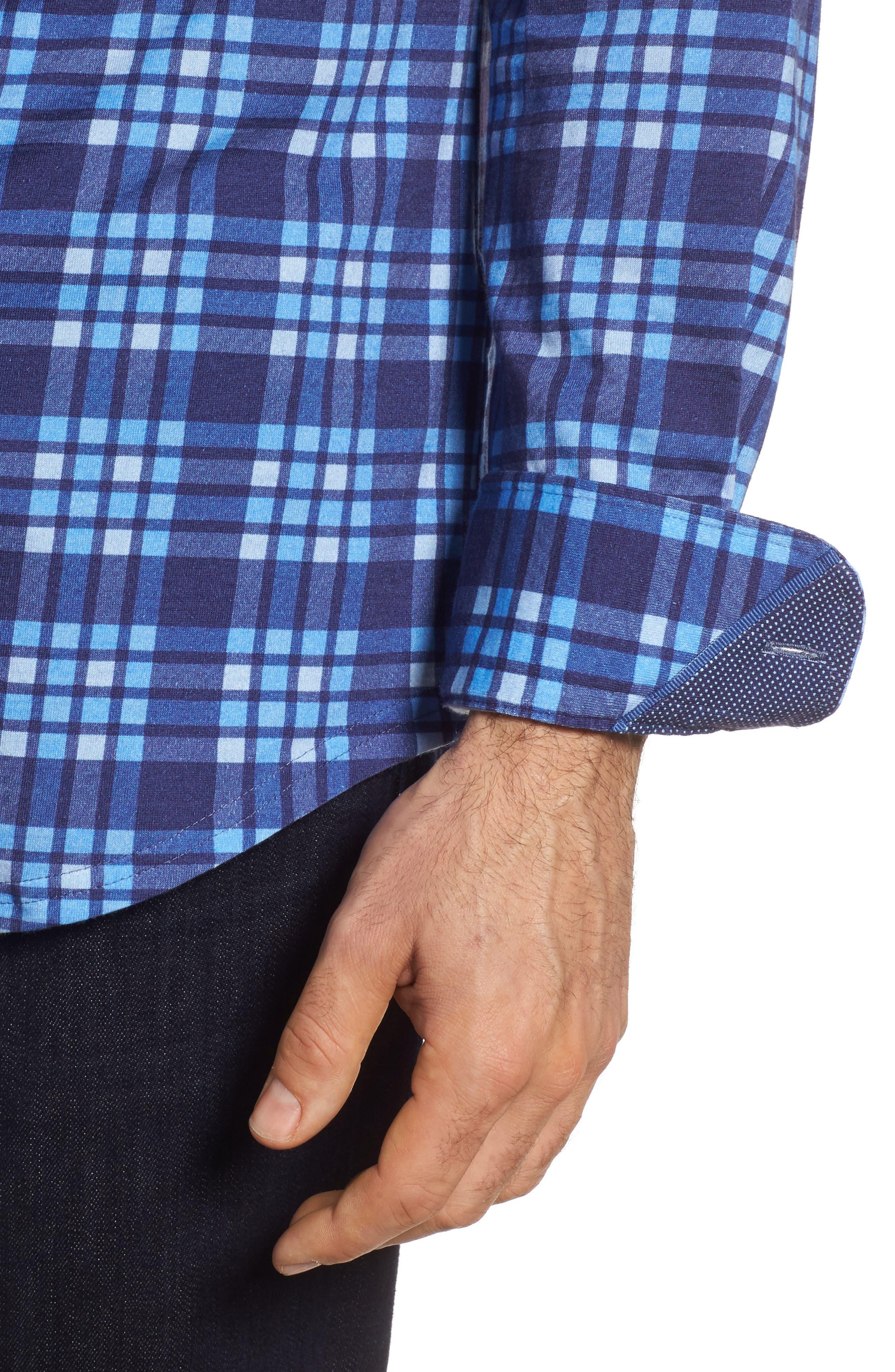 Plaid Print Jersey Shirt,                             Alternate thumbnail 4, color,                             Navy
