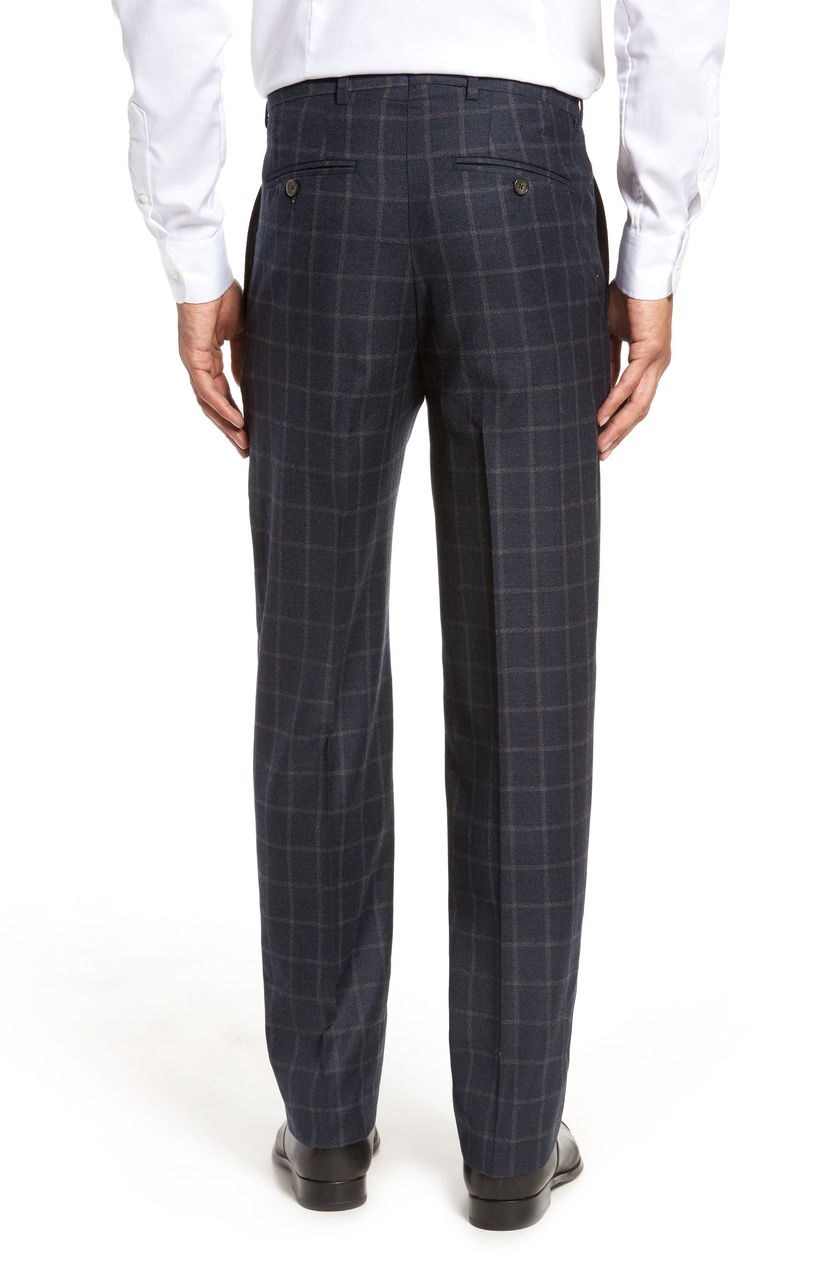 Flat Front Windowpane Wool Trousers,                             Alternate thumbnail 2, color,                             Blue