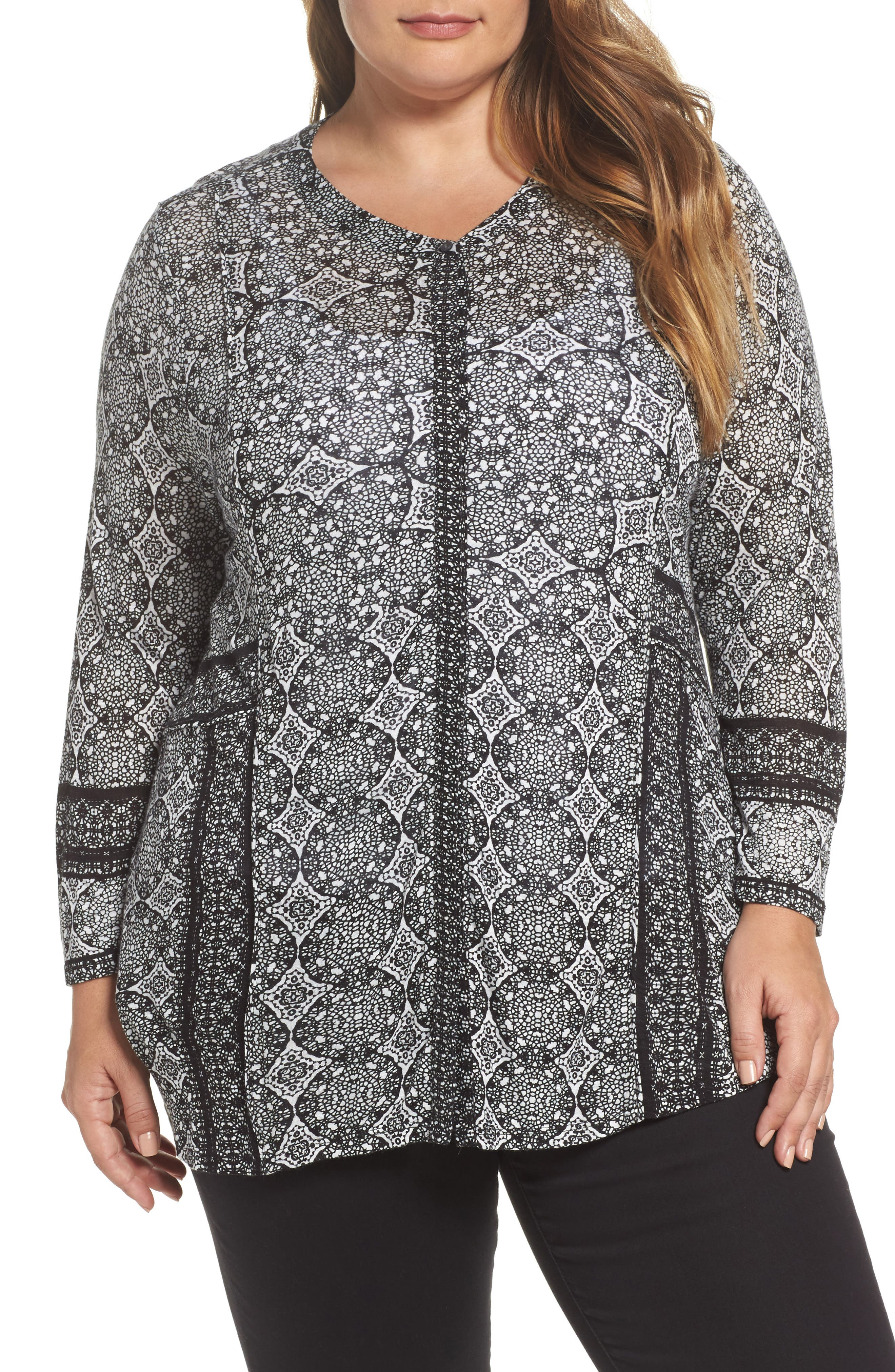 Alternate Image 1 Selected - Lucky Brand Geo Print Button-Up Shirt (Plus Size)