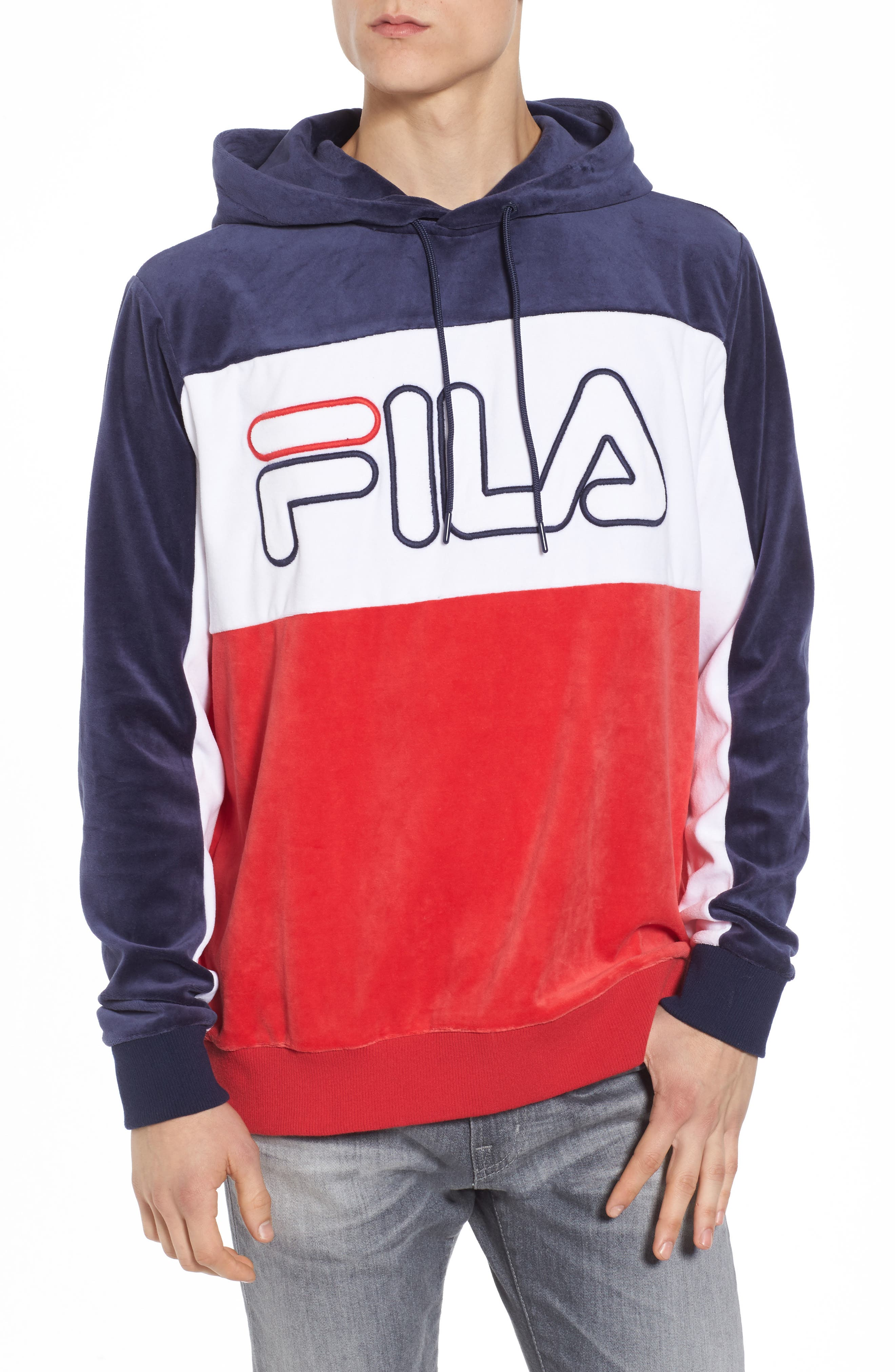 Baggio Velour Hoodie,                         Main,                         color, Navy/ White/ Red