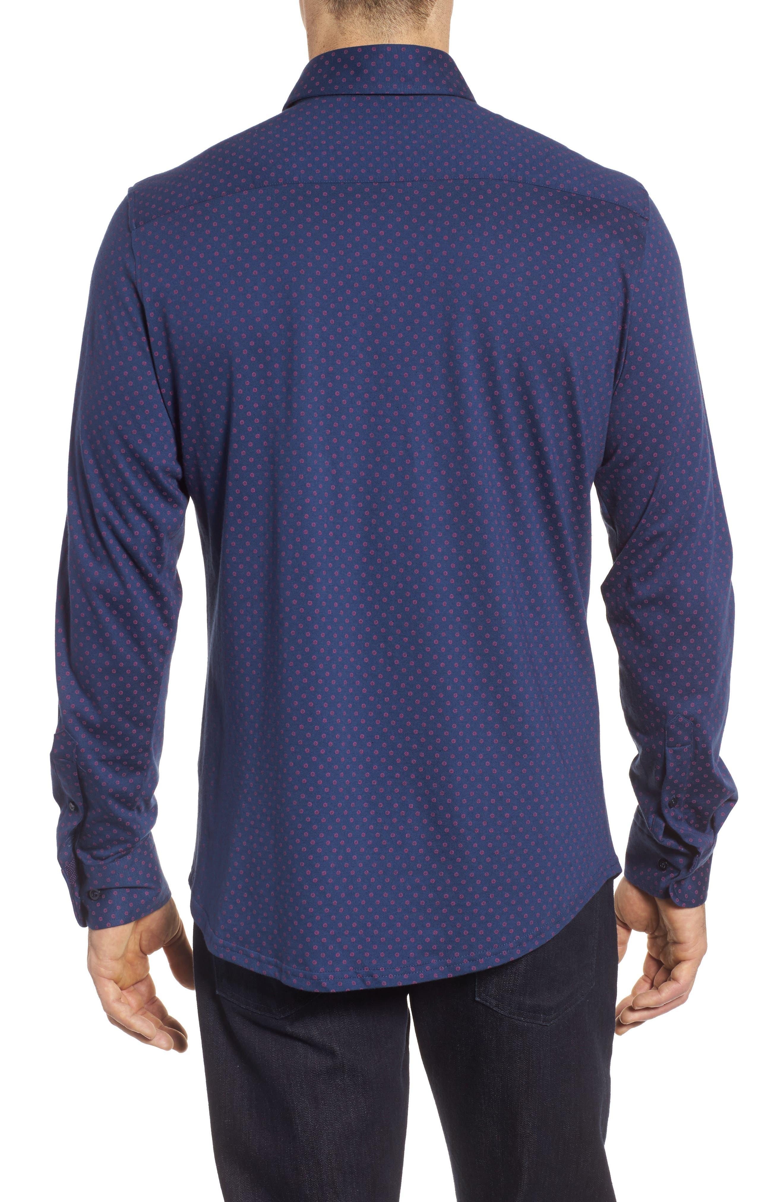 Ship Wheel Knit Sport Shirt,                             Alternate thumbnail 2, color,                             Navy
