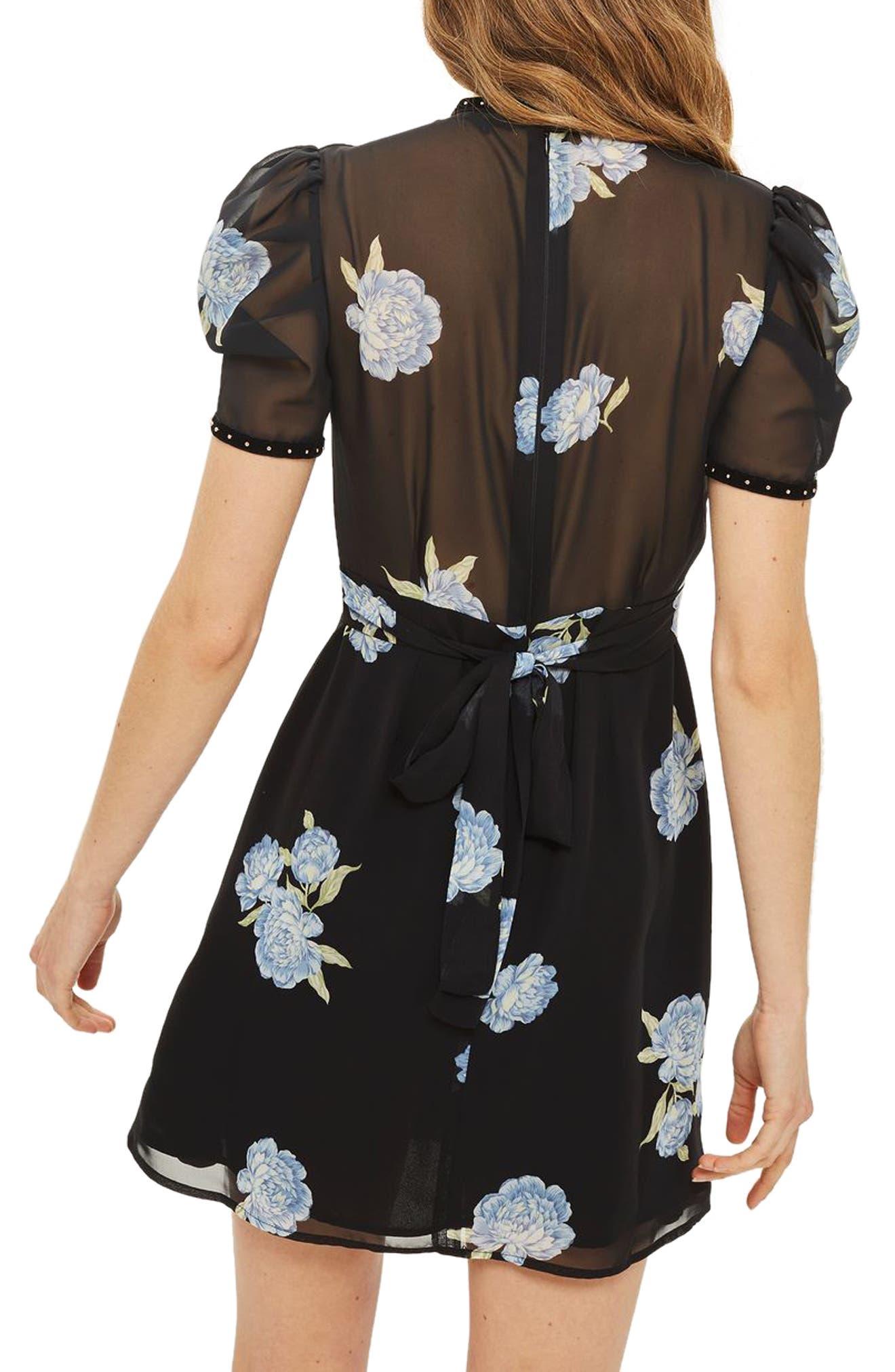 Alternate Image 3  - Topshop Bloom Studded Puff Sleeve Skater Dress
