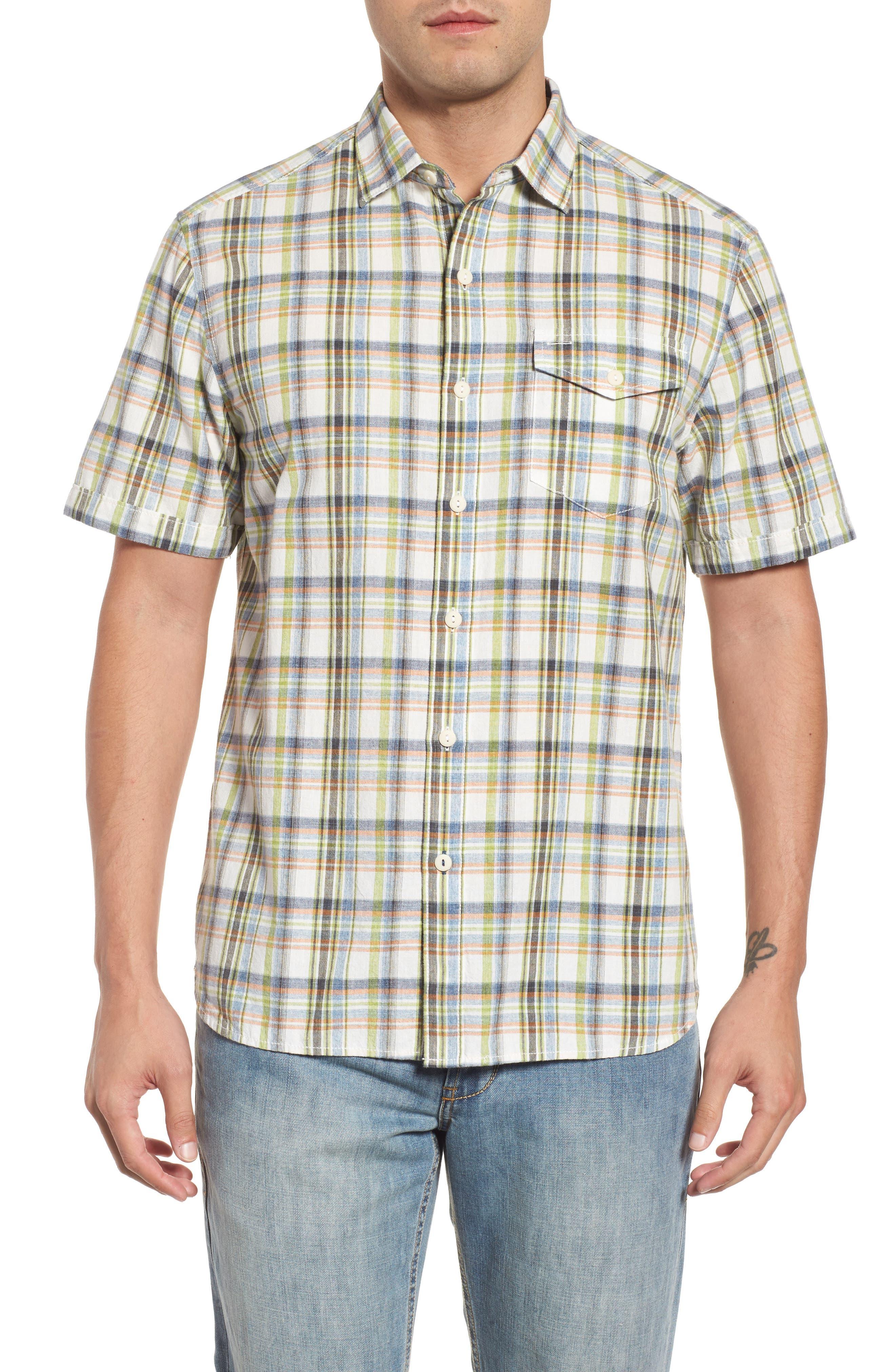 Ocean Cay Plaid Sport Shirt,                             Main thumbnail 1, color,                             Tart Apple