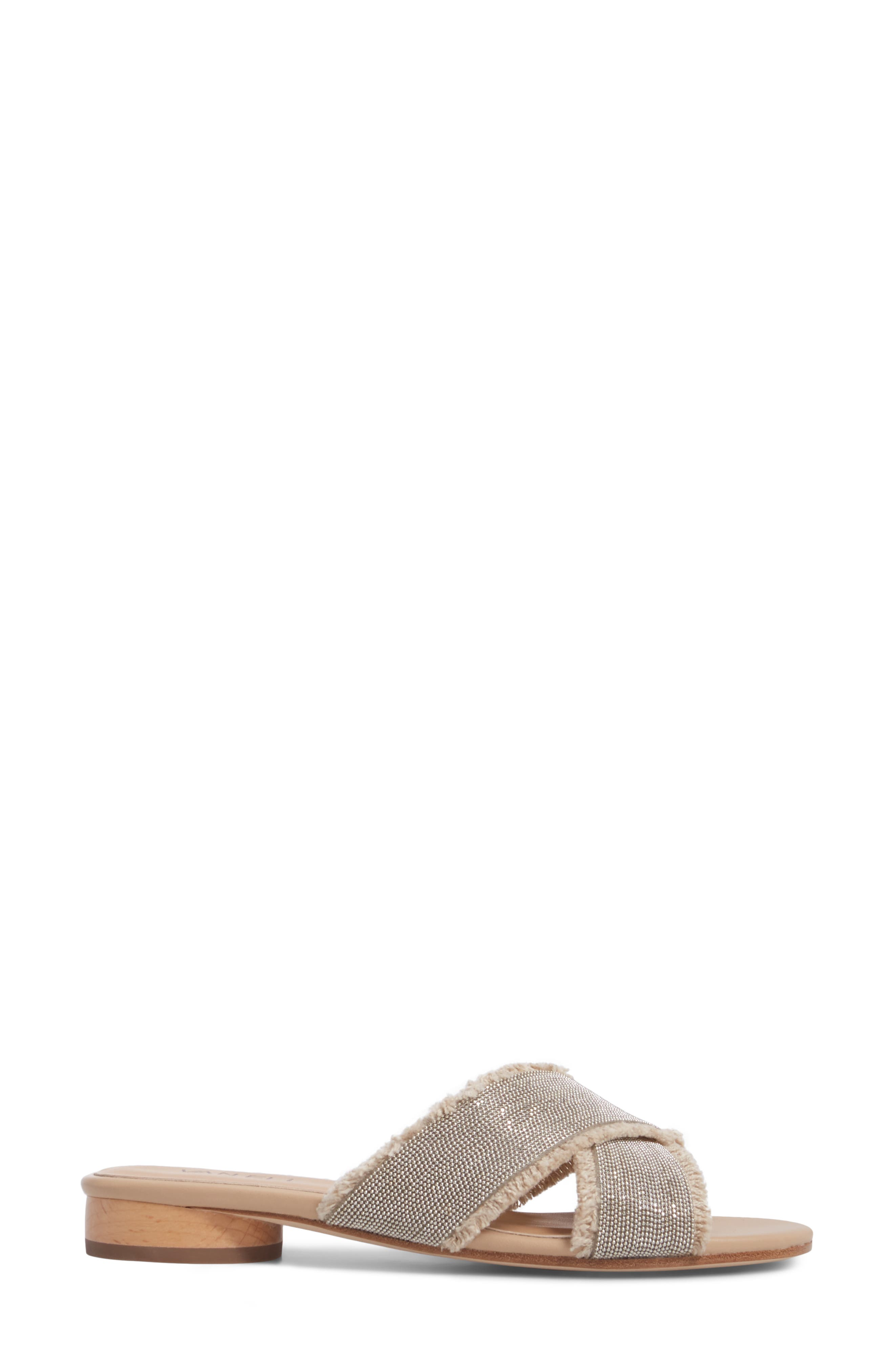 Baret Slide Sandal,                             Alternate thumbnail 3, color,                             Natural Fabric