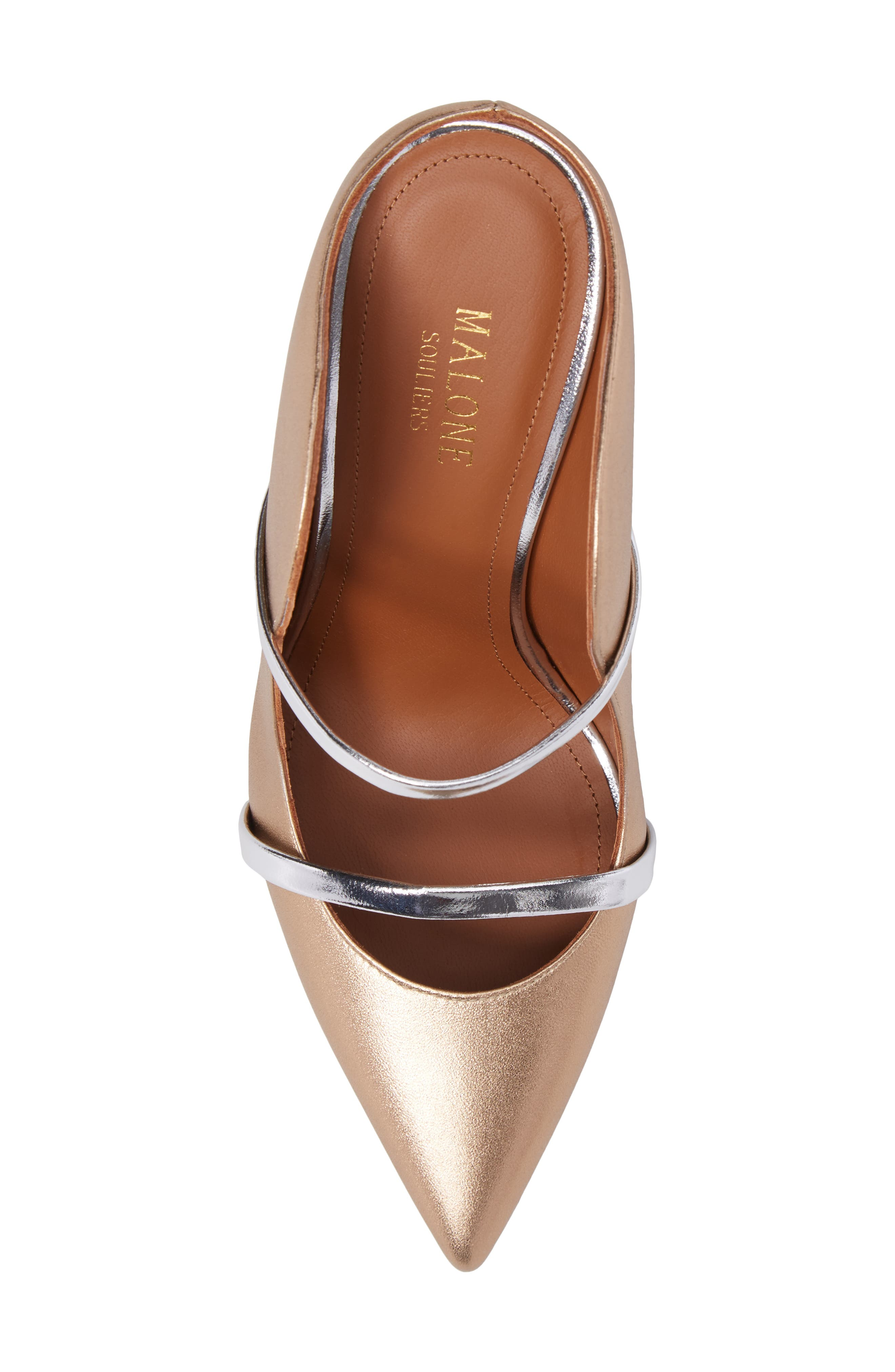 Maureen Double Band Mule,                             Alternate thumbnail 5, color,                             Gold/ Silver