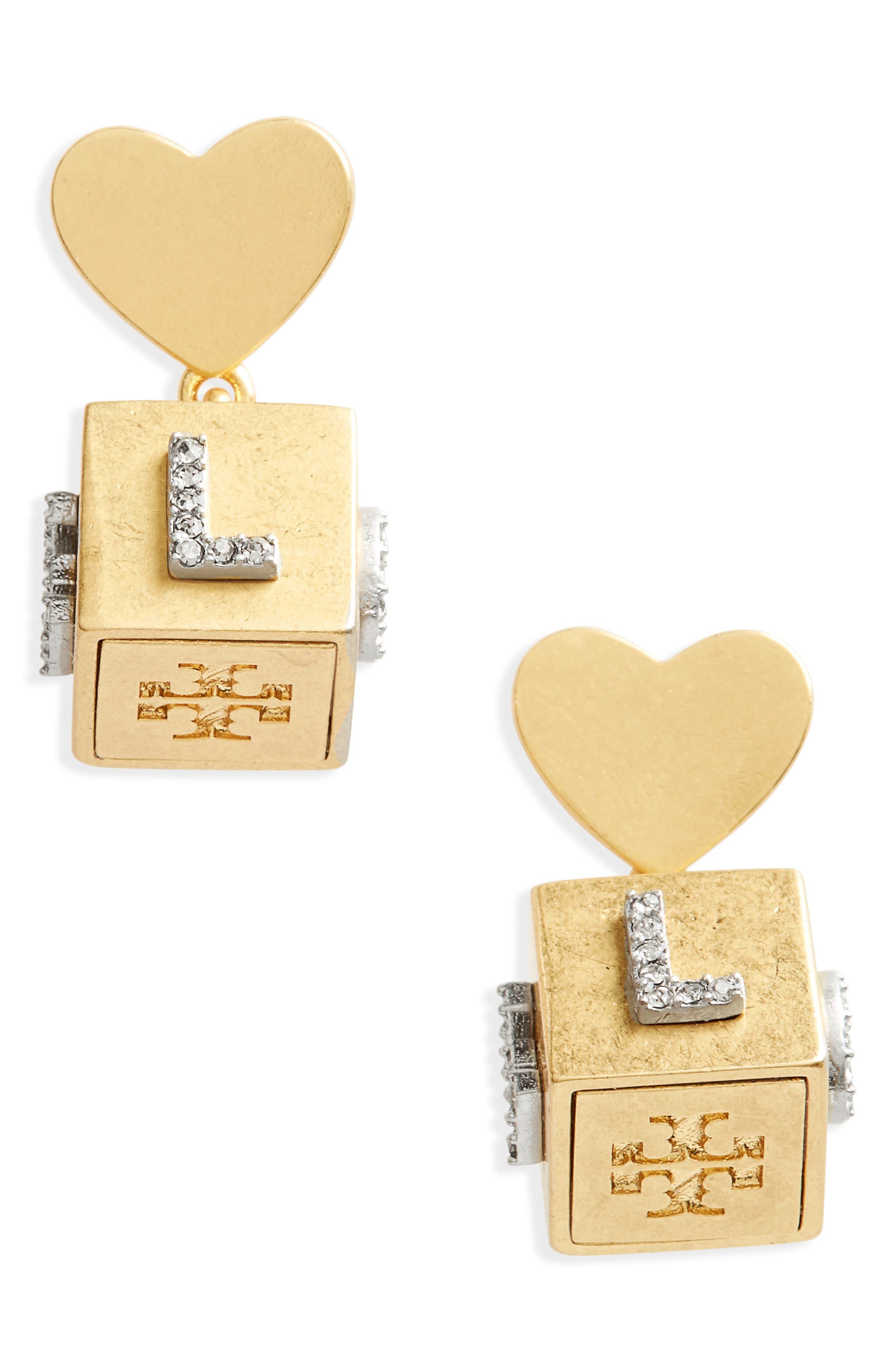 Love Message Cube Earrings,                             Main thumbnail 1, color,                             Black Diamond/ Vintage Gold