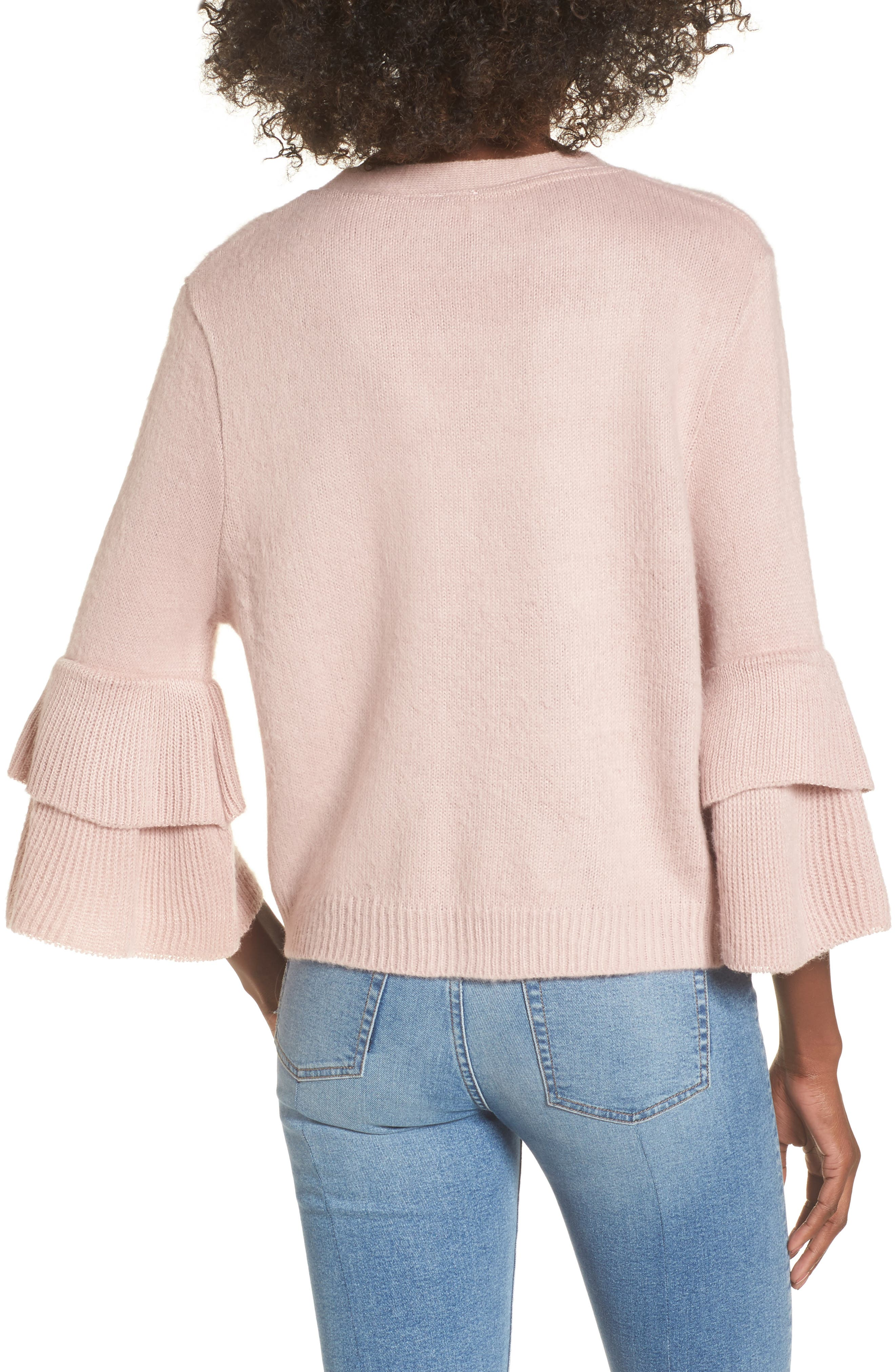 Tiered Sleeve Cardigan,                             Alternate thumbnail 3, color,                             Pink