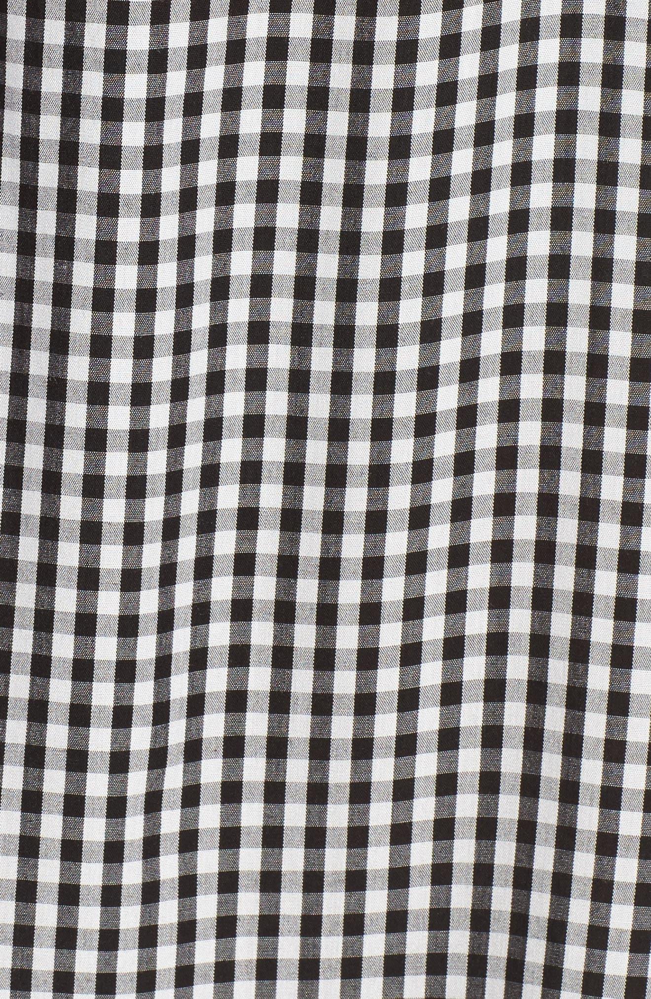 Off the Shoulder Gingham Dress,                             Alternate thumbnail 5, color,                             Black White Gingham