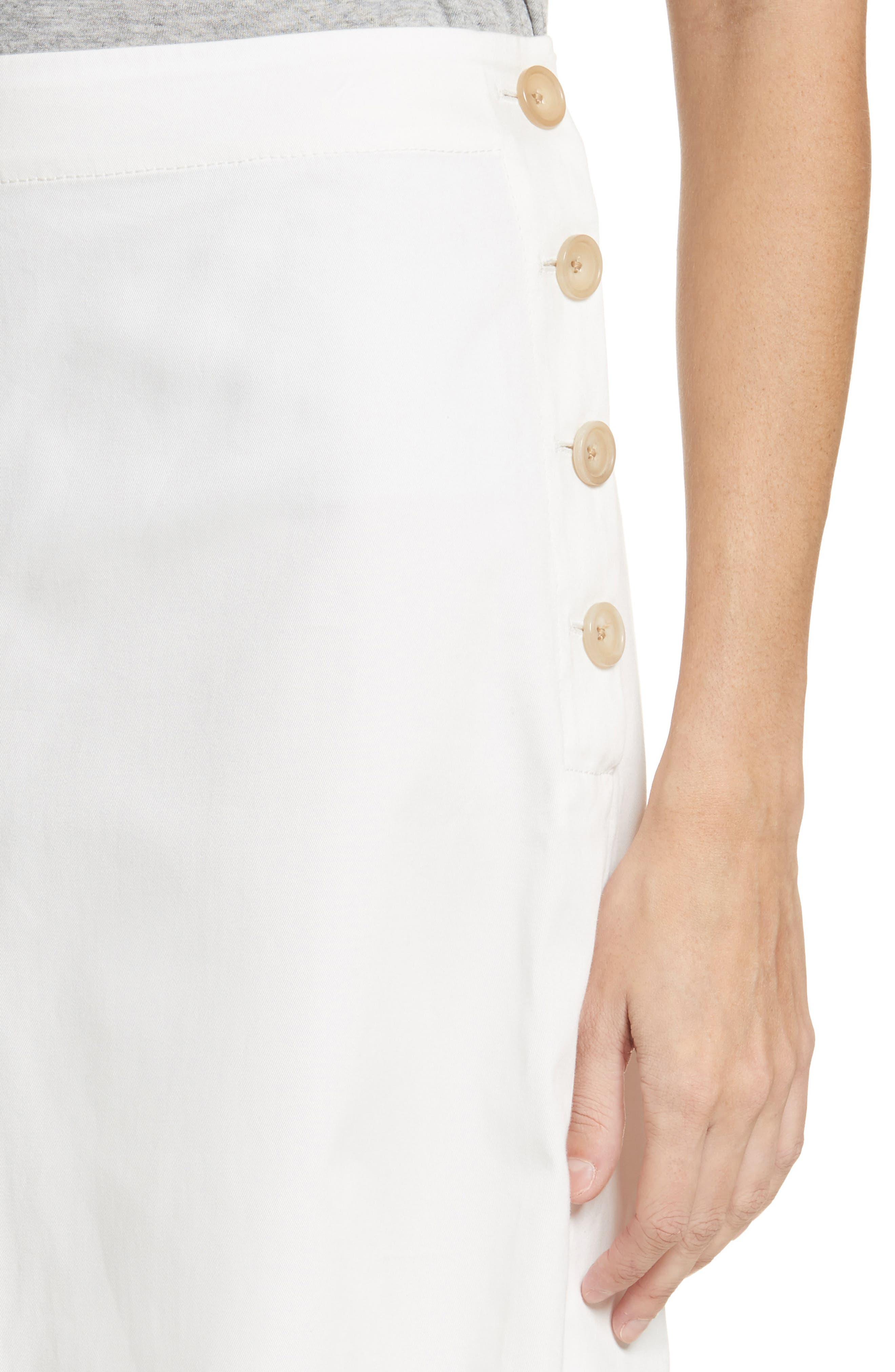 Twill Chino Midi Skirt,                             Alternate thumbnail 4, color,                             Ecru