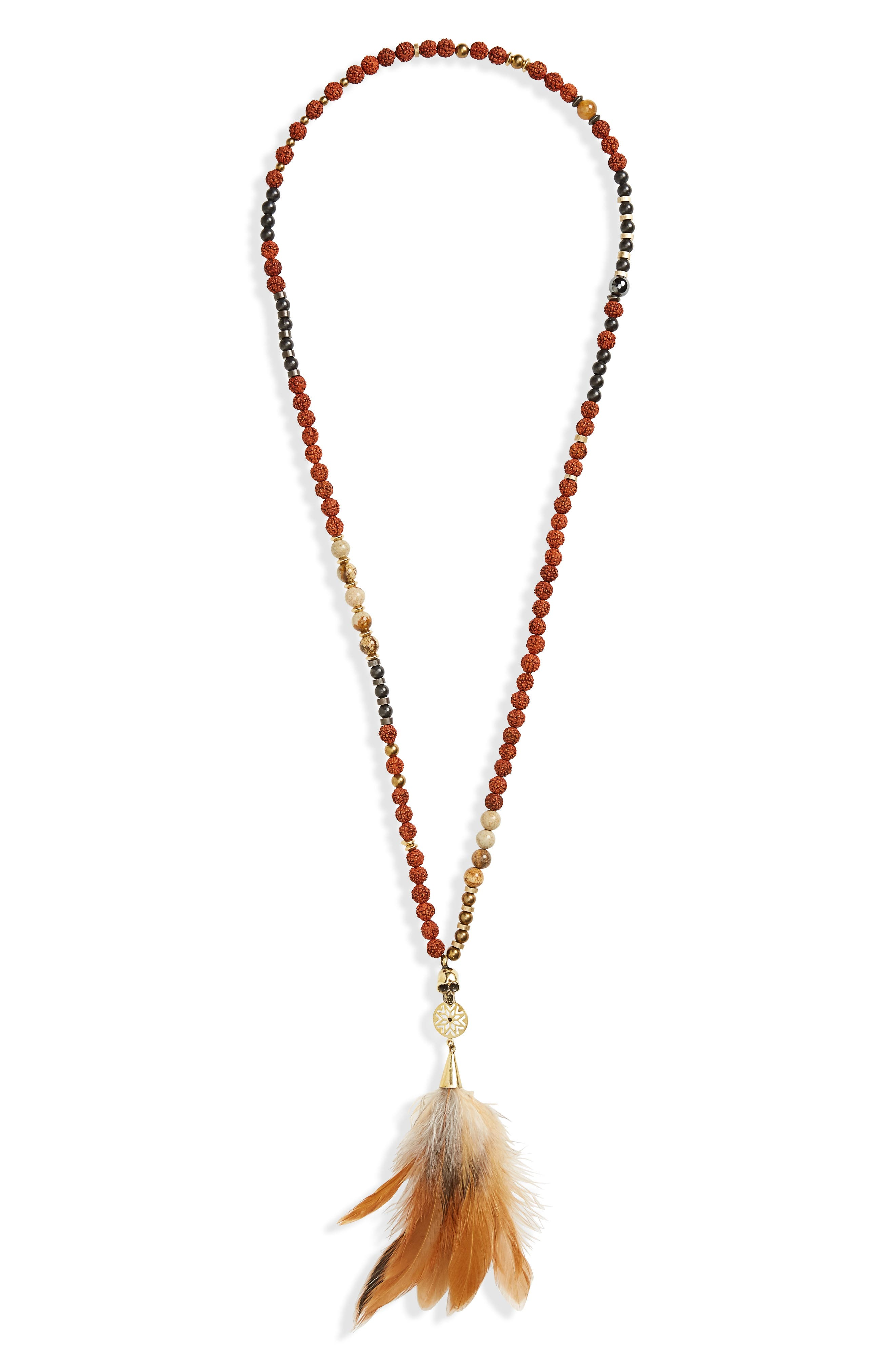 Seed Skull Necklace,                         Main,                         color, Brown