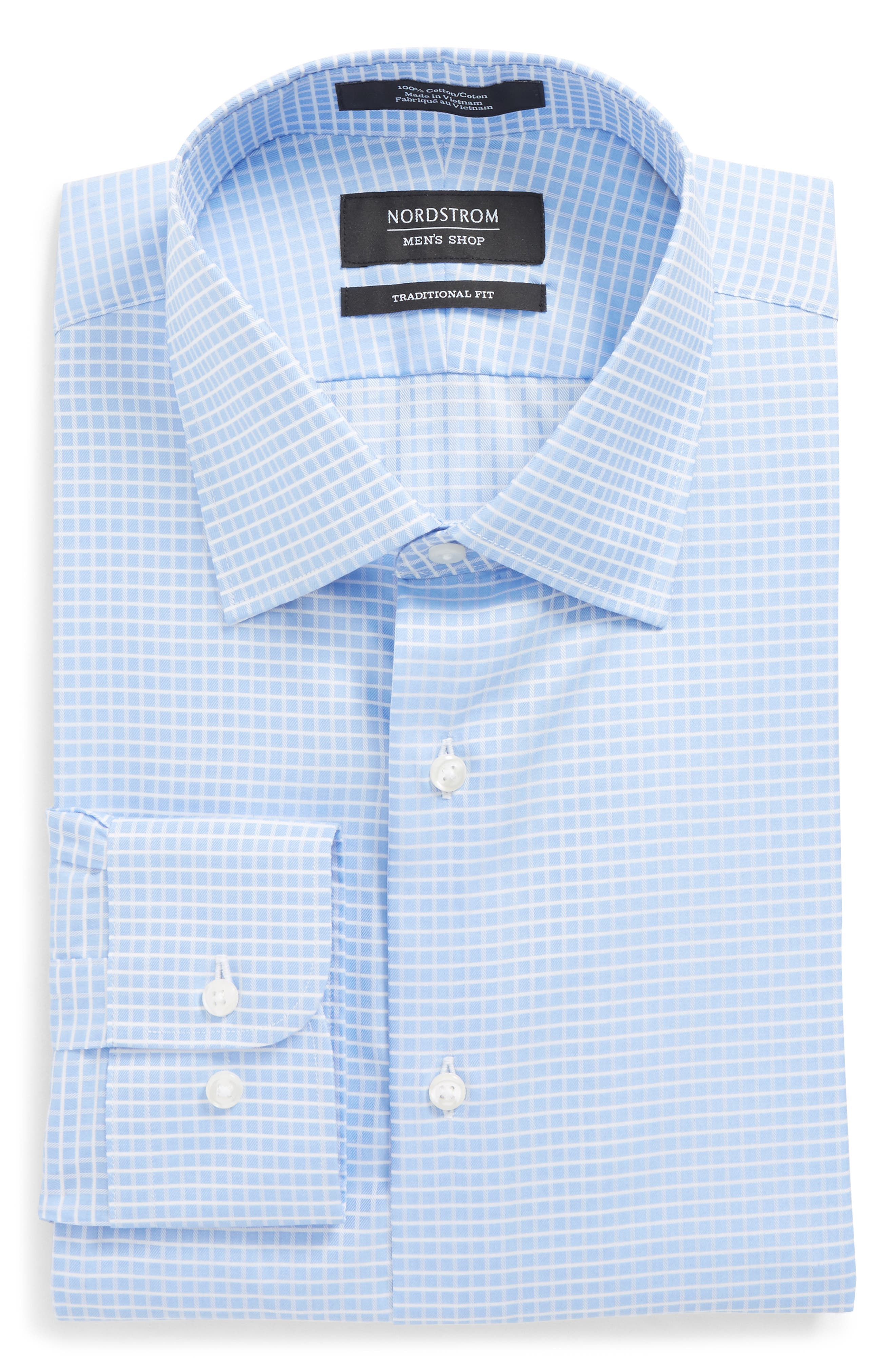 Traditional Fit Check Dress Shirt,                         Main,                         color, Blue Hydrangea