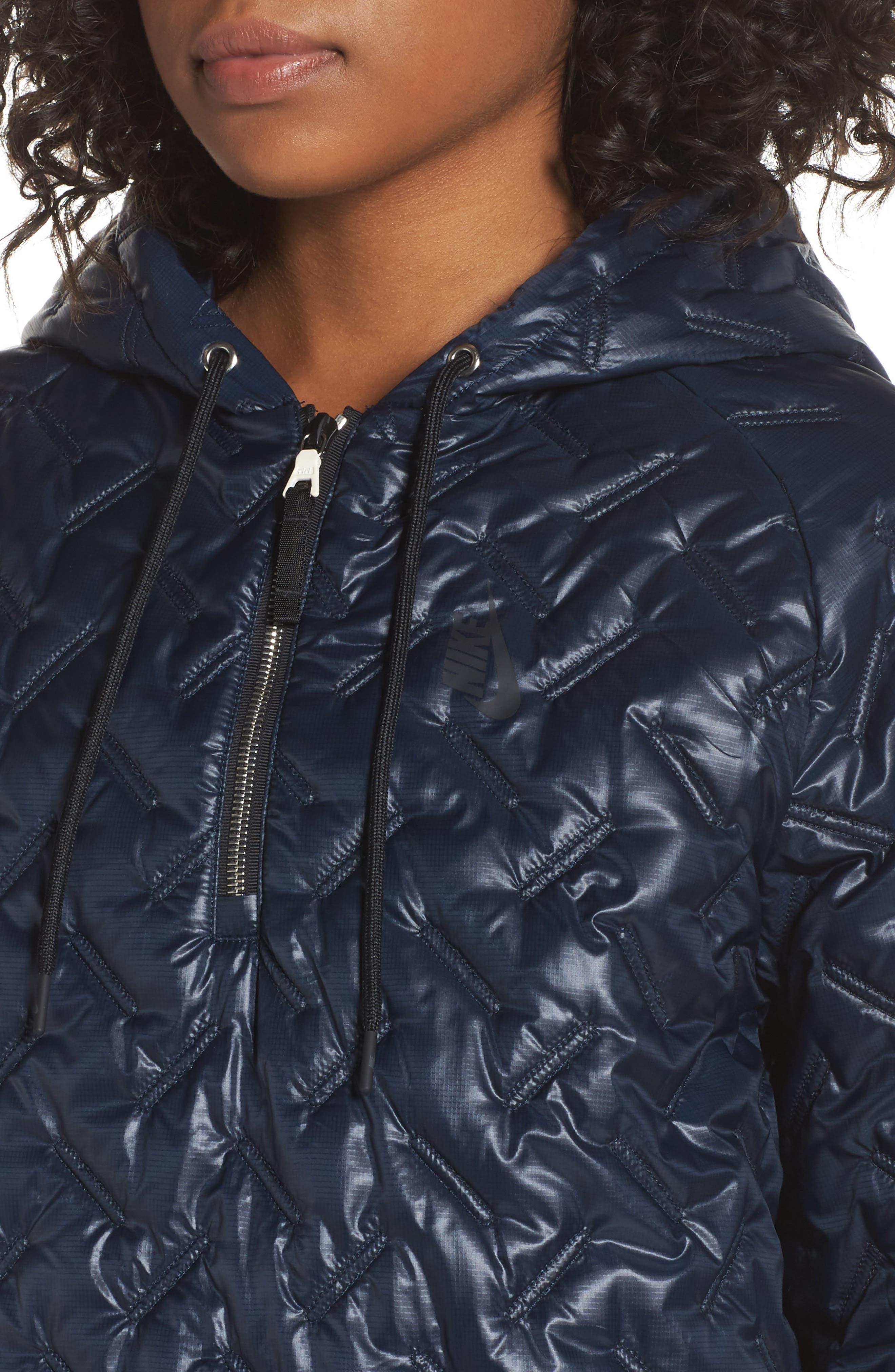 NikeLab Essentials Insulated Short Sleeve Women's Hoodie,                             Alternate thumbnail 4, color,                             Dark Obsidian/ Black