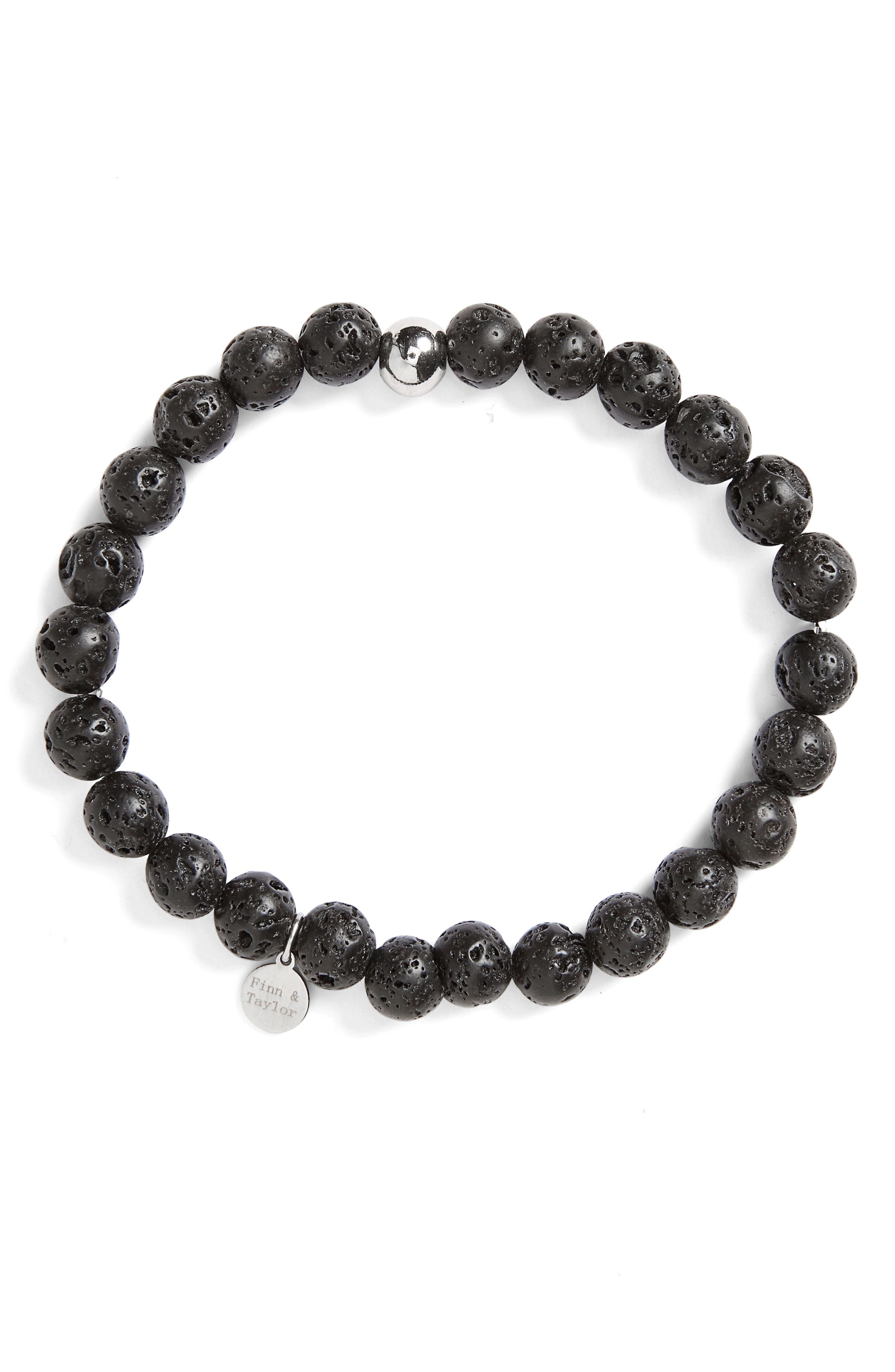 Finn & Taylor Lava Stone Bracelet,                         Main,                         color, Black