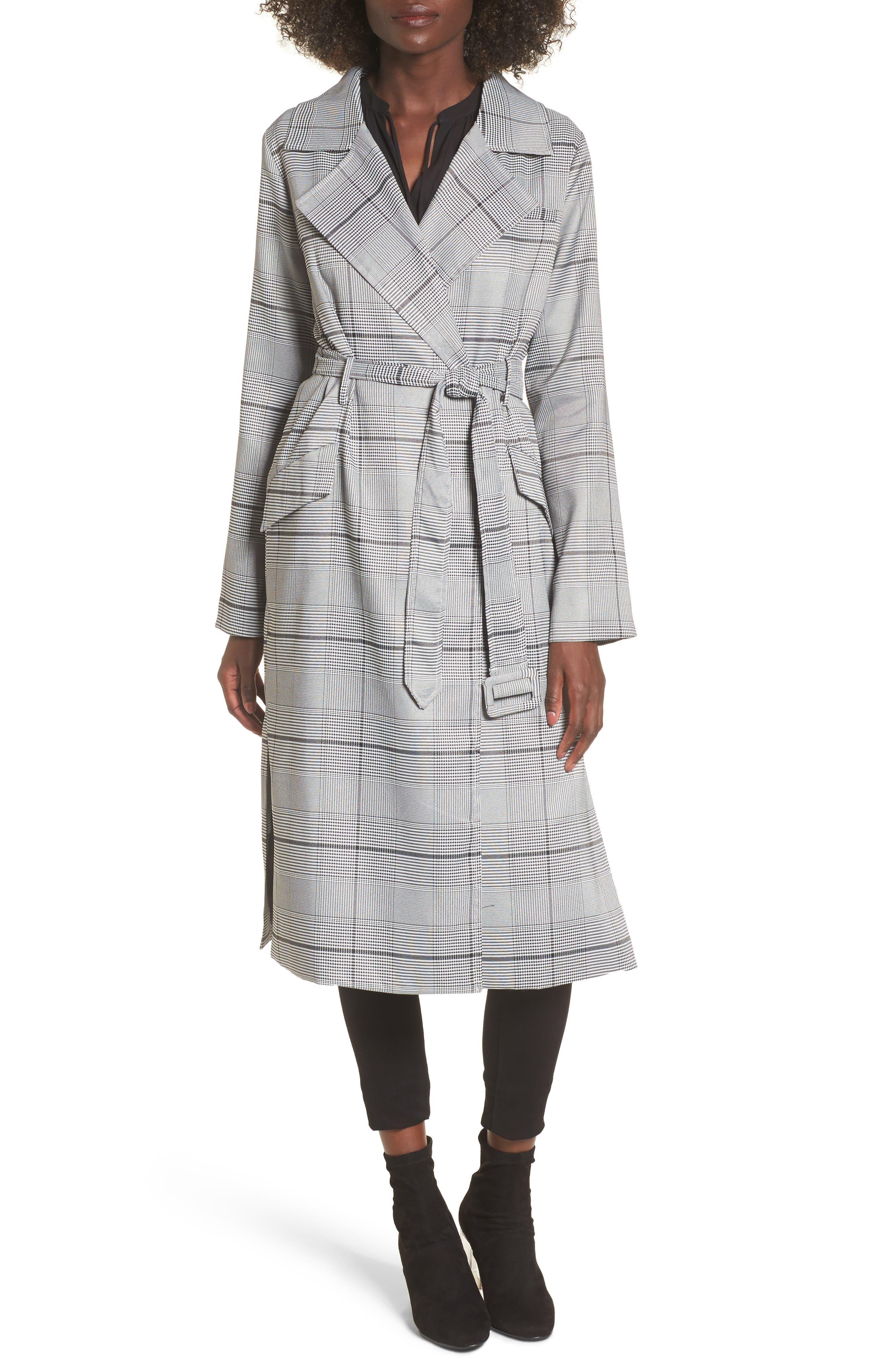 Plaid Menswear Coat,                             Main thumbnail 1, color,                             Black Plaid
