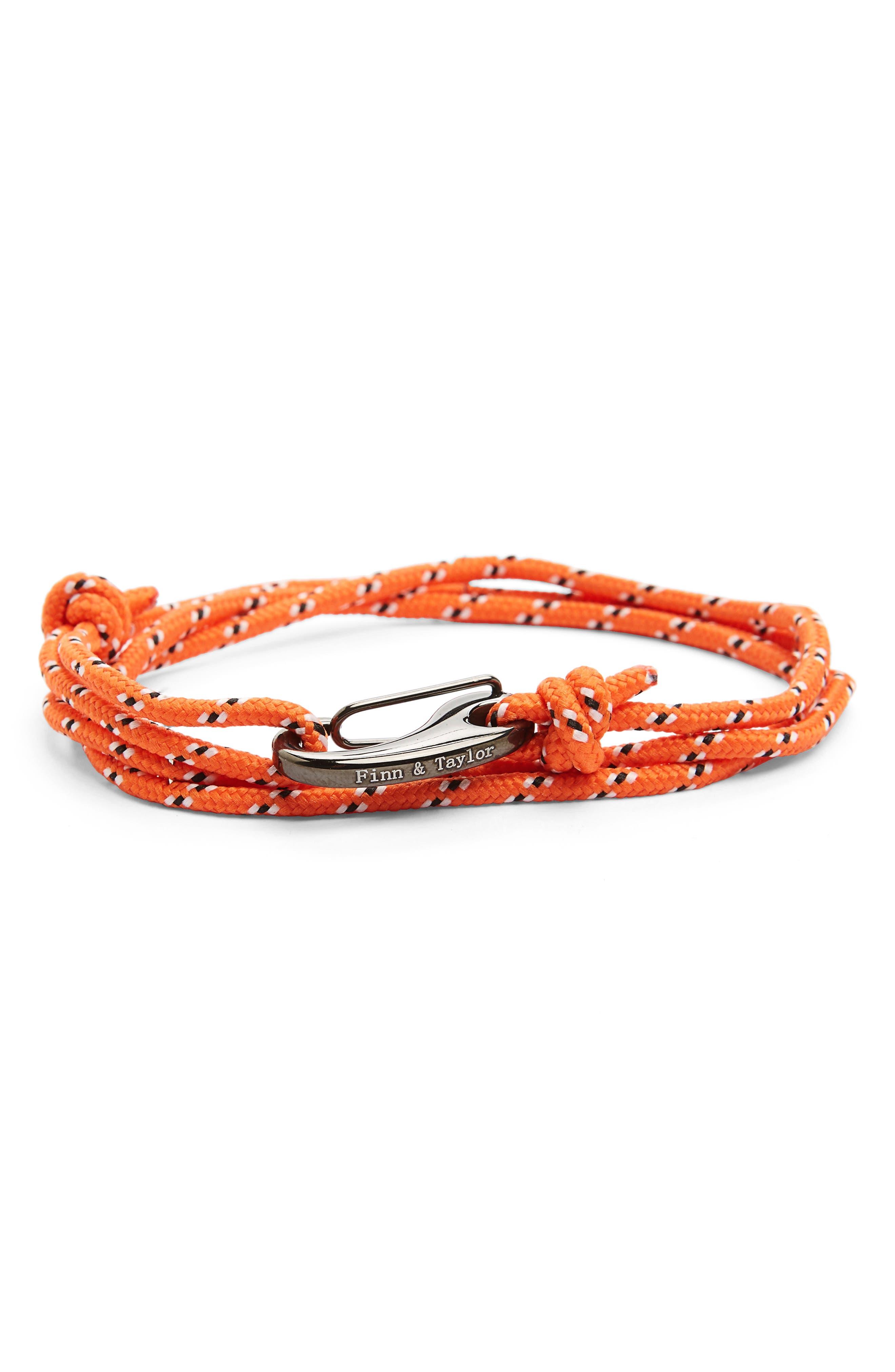 Finn & Taylor Wrap Bracelet,                             Main thumbnail 1, color,                             Orange