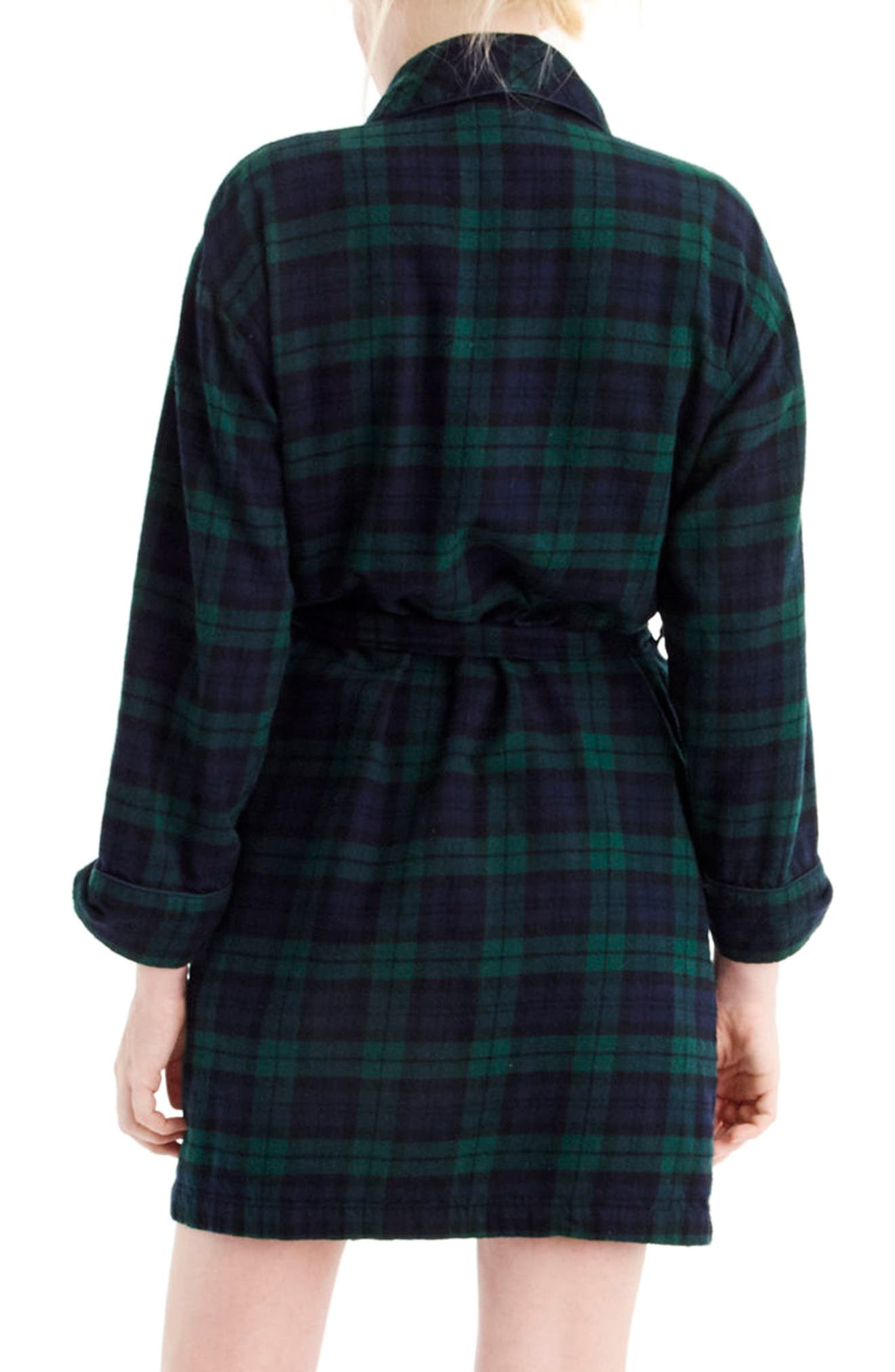 Blackwatch Flannel Short Robe,                             Alternate thumbnail 2, color,                             Midnight