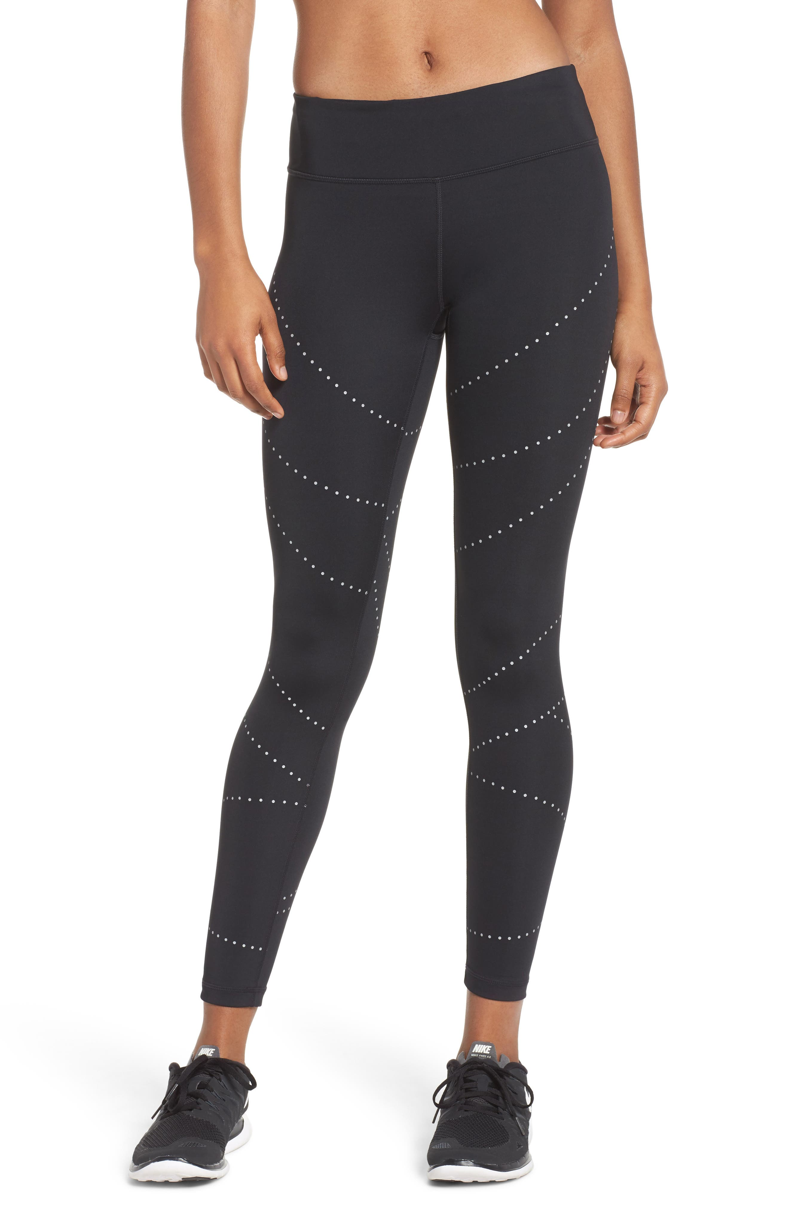 Aero Reflect Run Ankle Leggings,                         Main,                         color, Black