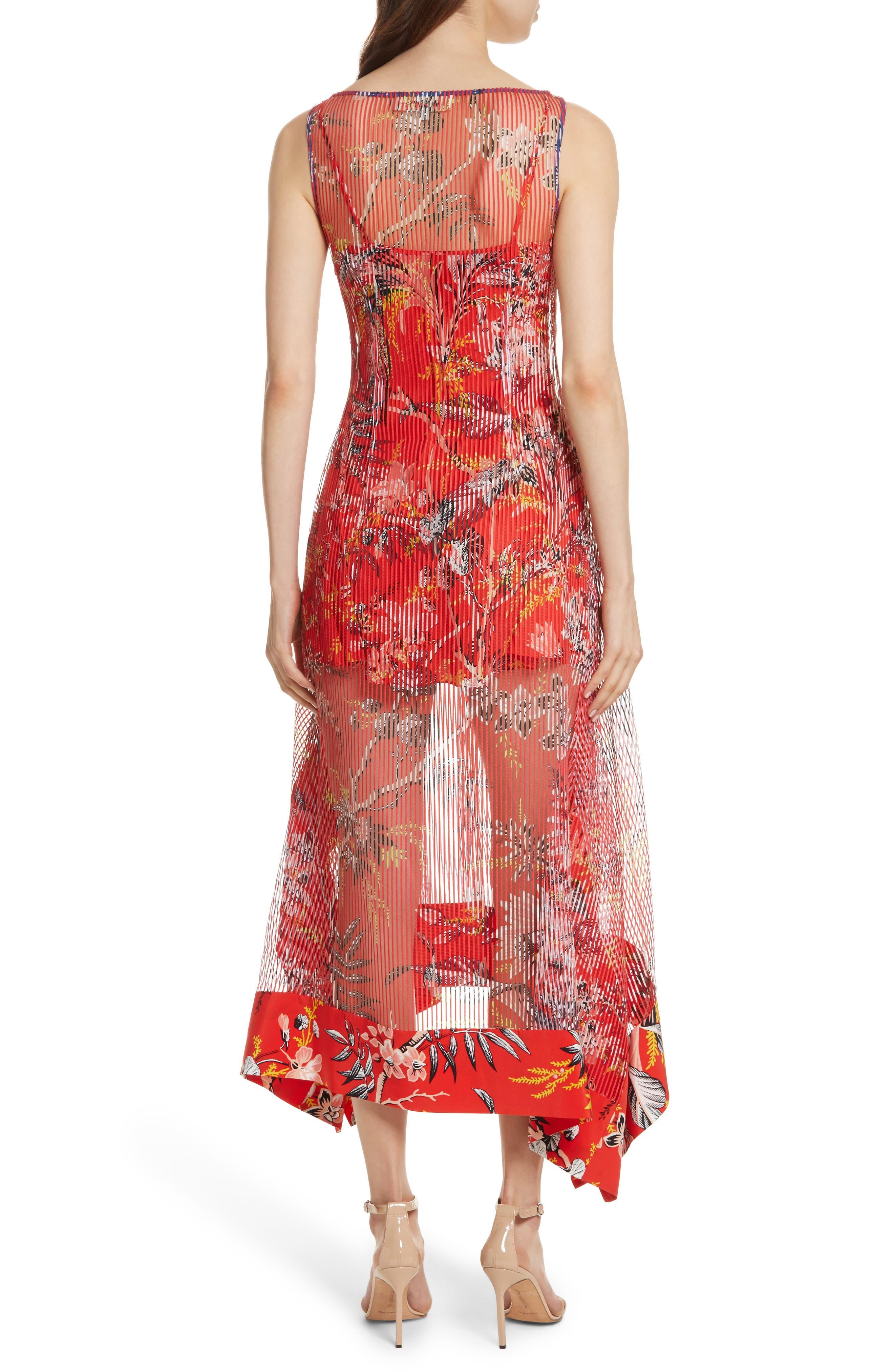 Alternate Image 2  - Diane von Furstenberg Floral Boat Neck Chiffon Midi Dress