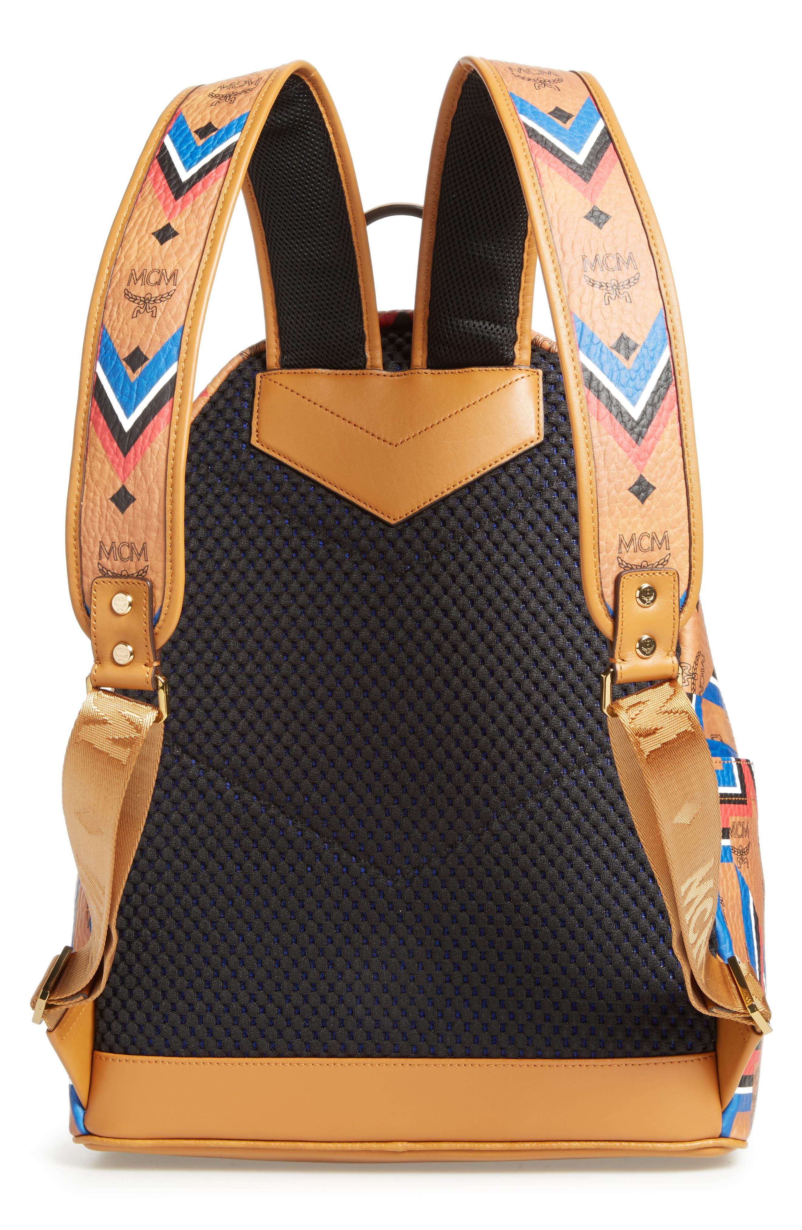 Stark Gunta Visetos Print Faux Leather Backpack,                             Alternate thumbnail 3, color,                             Cognac